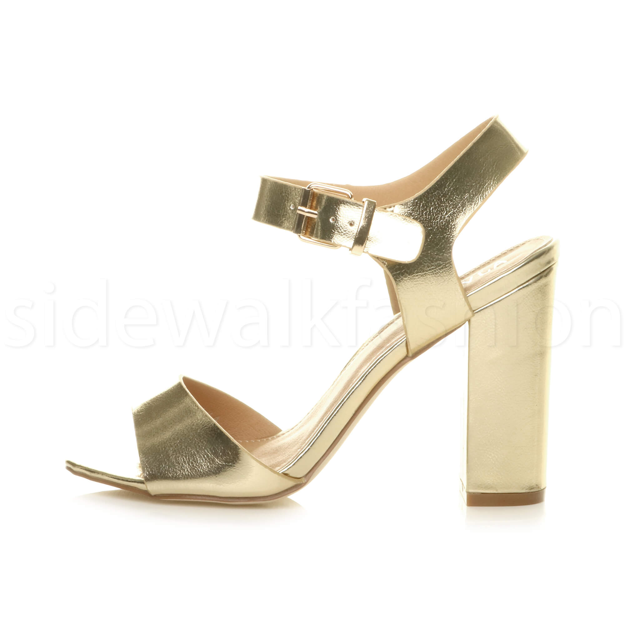 Womens-ladies-chunky-high-heel-buckle-strappy-barely-there-sandals-shoes-size thumbnail 28