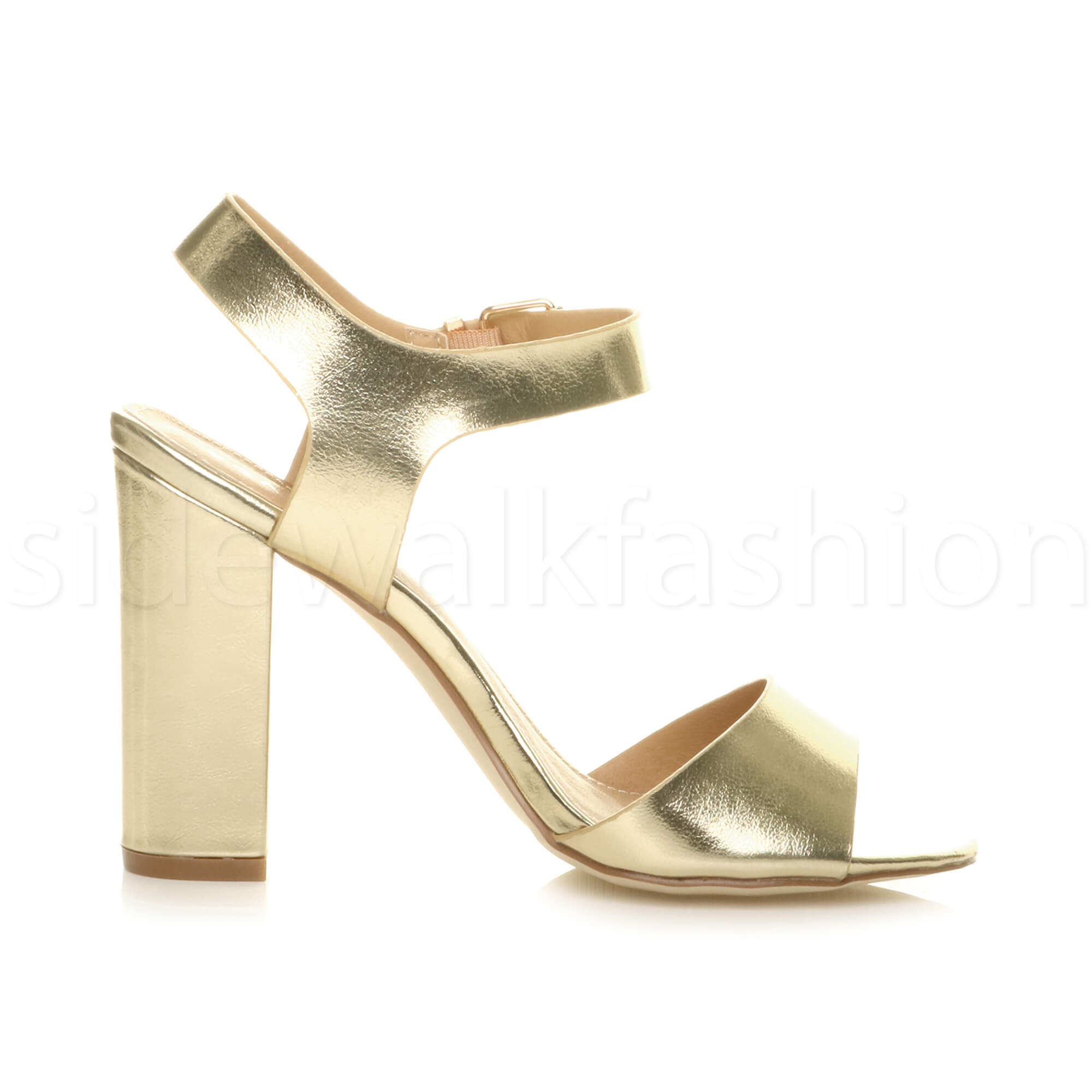 Womens-ladies-chunky-high-heel-buckle-strappy-barely-there-sandals-shoes-size thumbnail 29