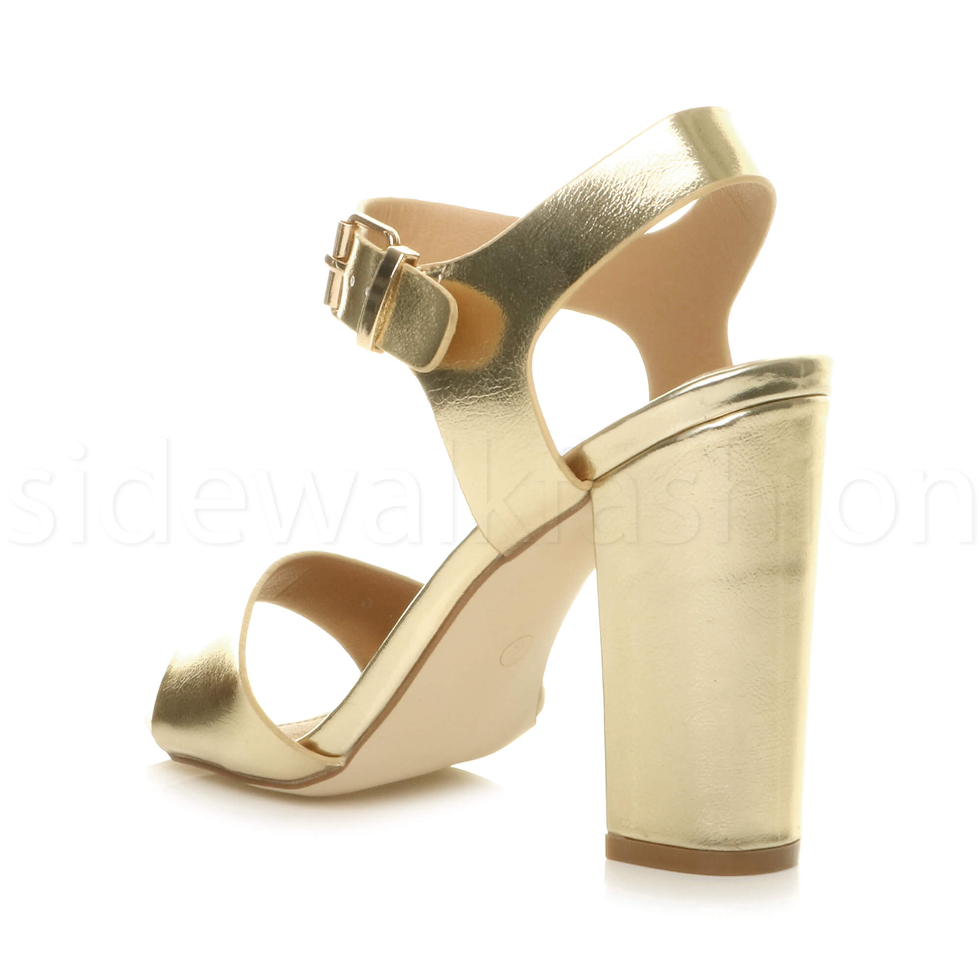 Womens-ladies-chunky-high-heel-buckle-strappy-barely-there-sandals-shoes-size thumbnail 30