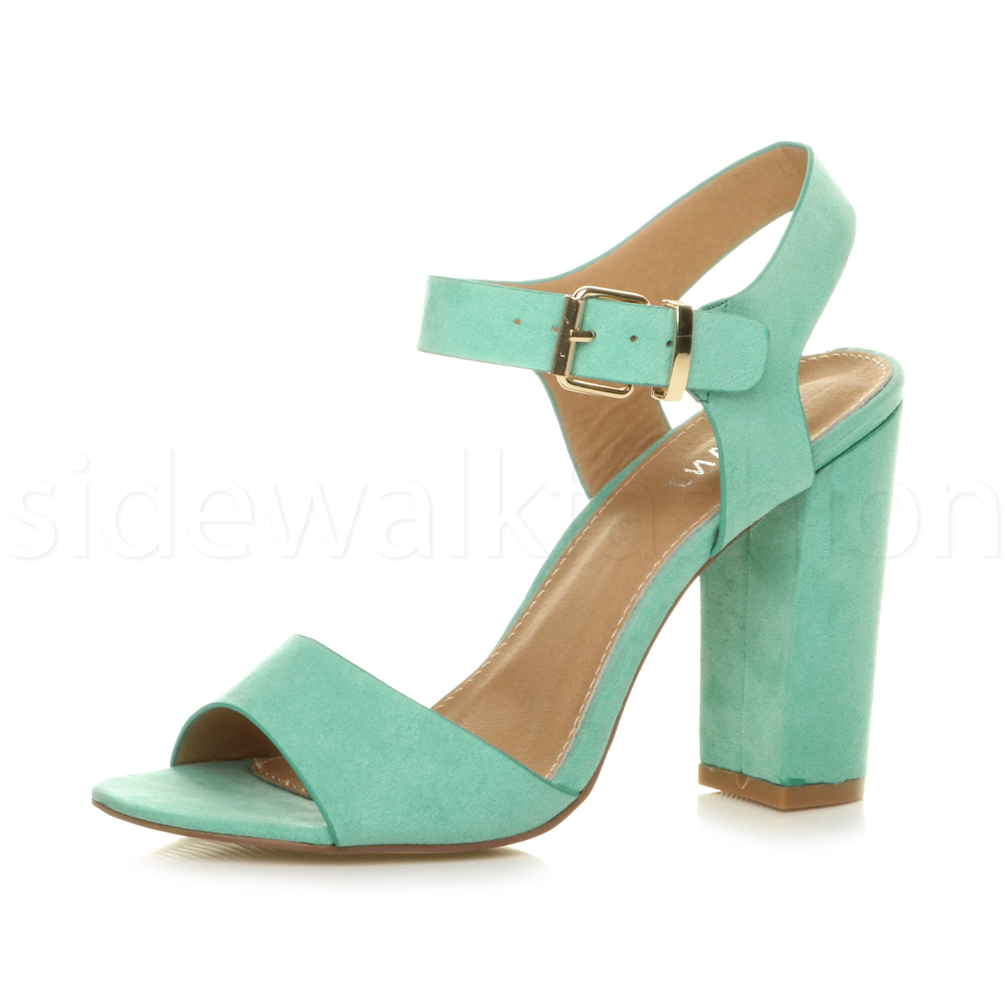 7575cf4d3c8b Womens Ladies Chunky High Heel Buckle Strappy Barely There Sandals ...