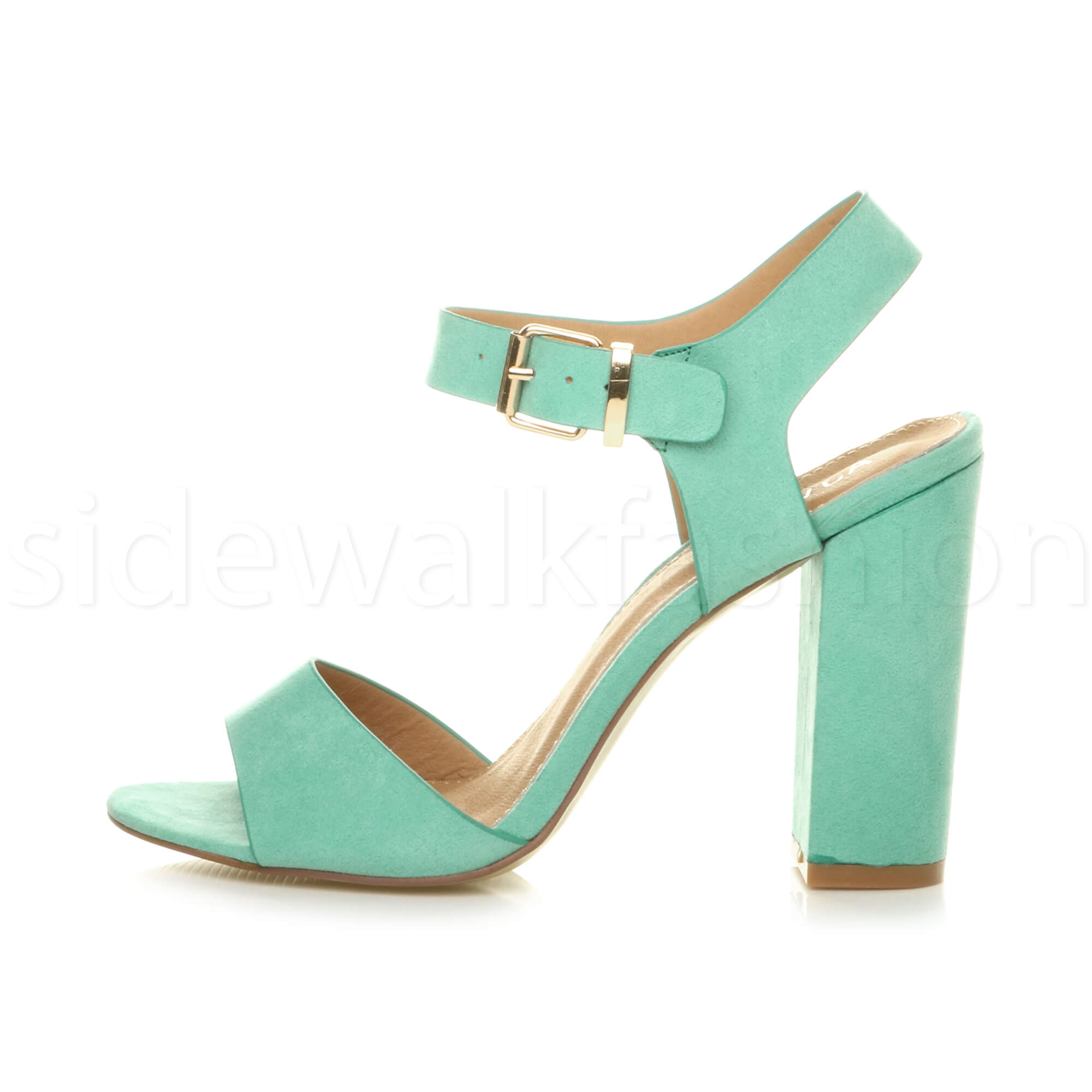 Womens-ladies-chunky-high-heel-buckle-strappy-barely-there-sandals-shoes-size thumbnail 33