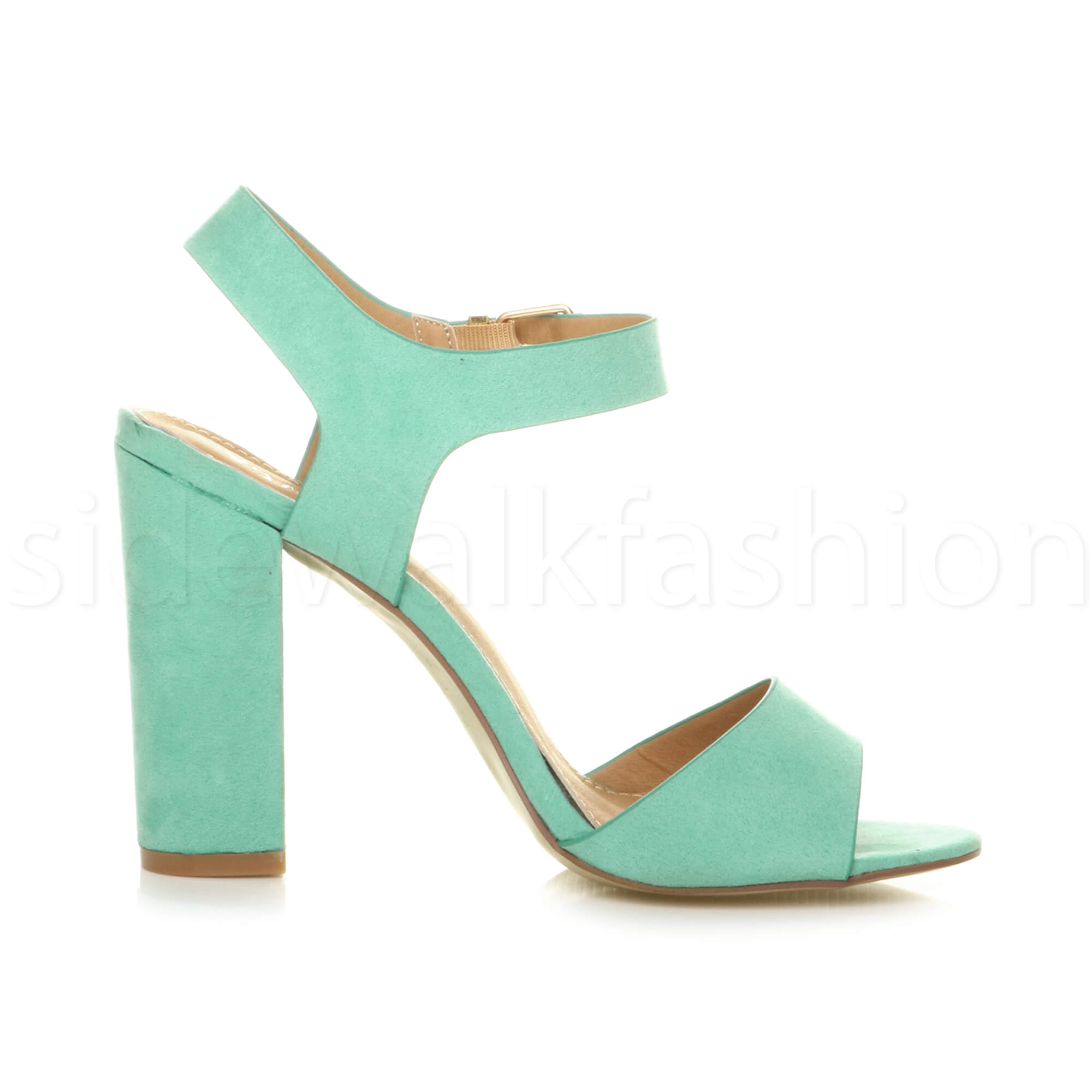 Womens-ladies-chunky-high-heel-buckle-strappy-barely-there-sandals-shoes-size thumbnail 34