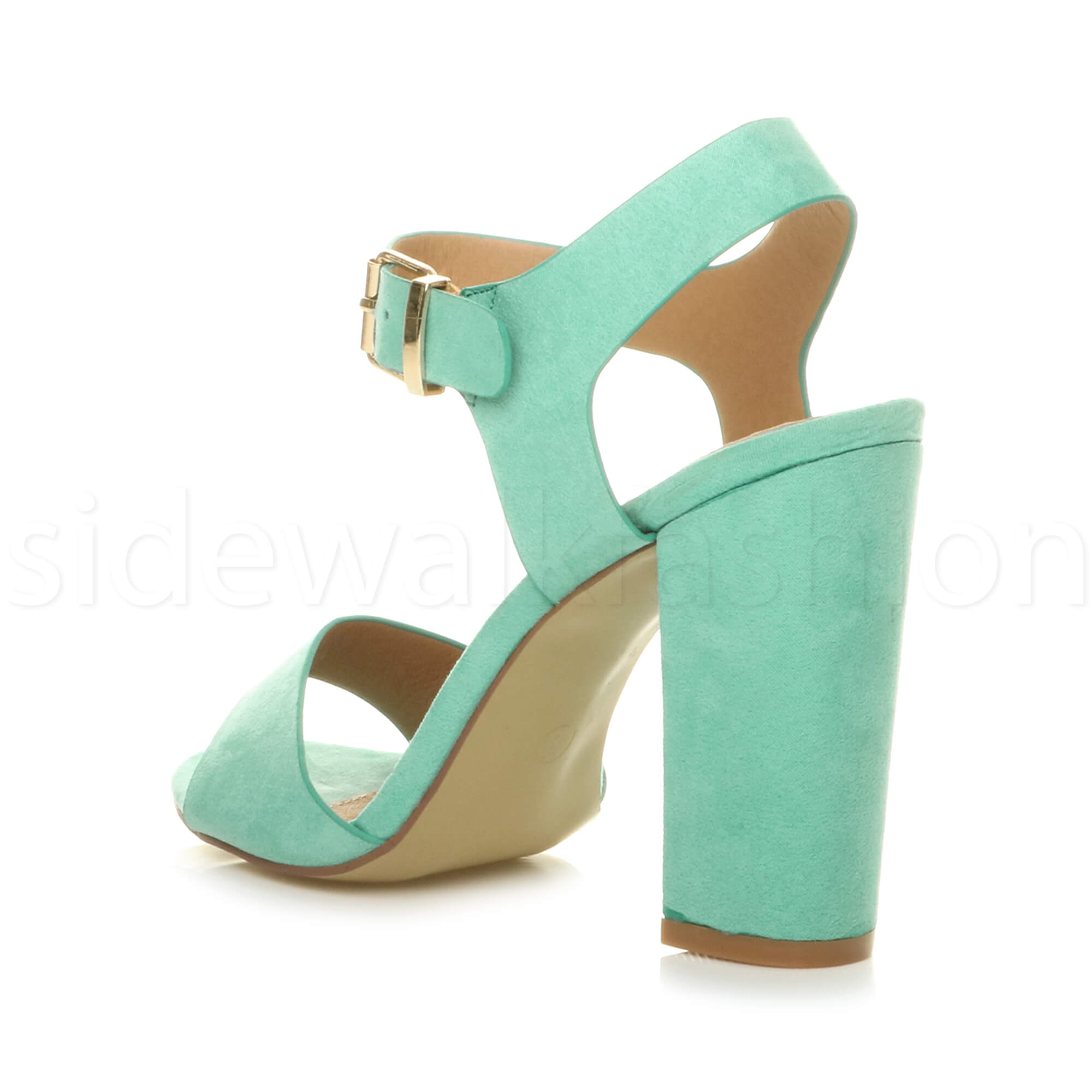 Womens-ladies-chunky-high-heel-buckle-strappy-barely-there-sandals-shoes-size thumbnail 35
