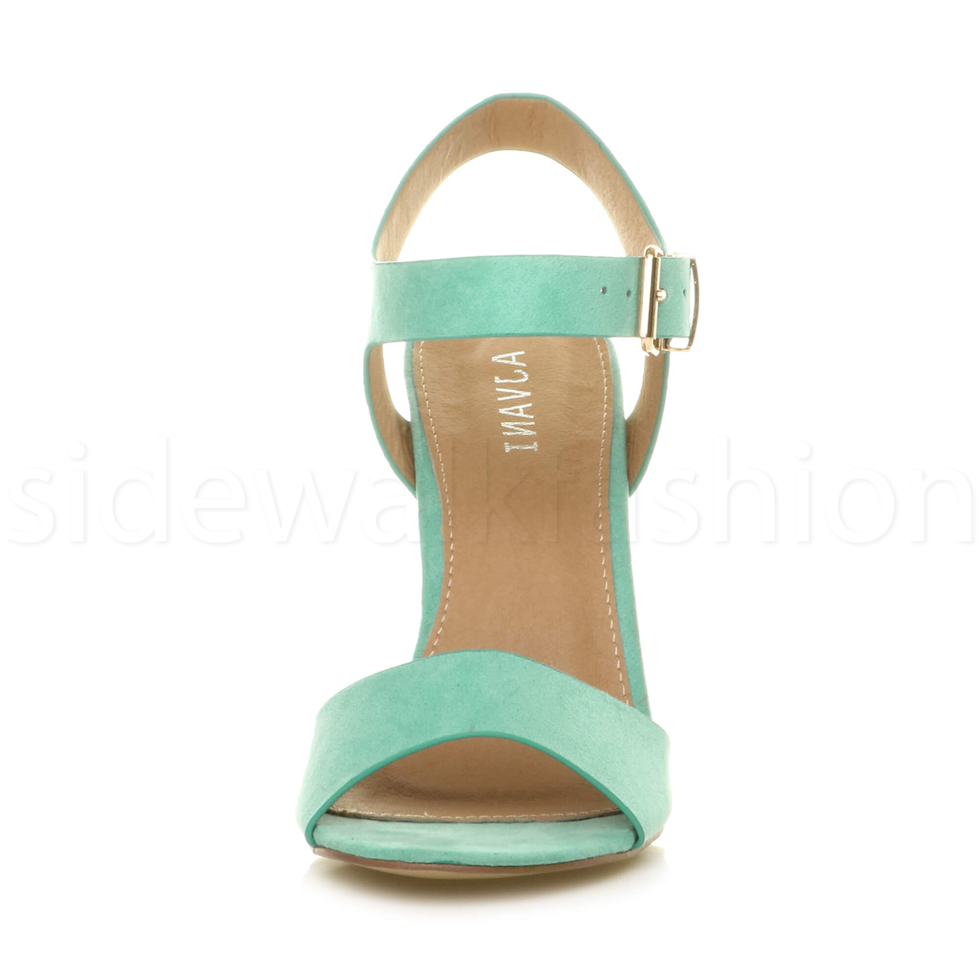 Womens-ladies-chunky-high-heel-buckle-strappy-barely-there-sandals-shoes-size thumbnail 36