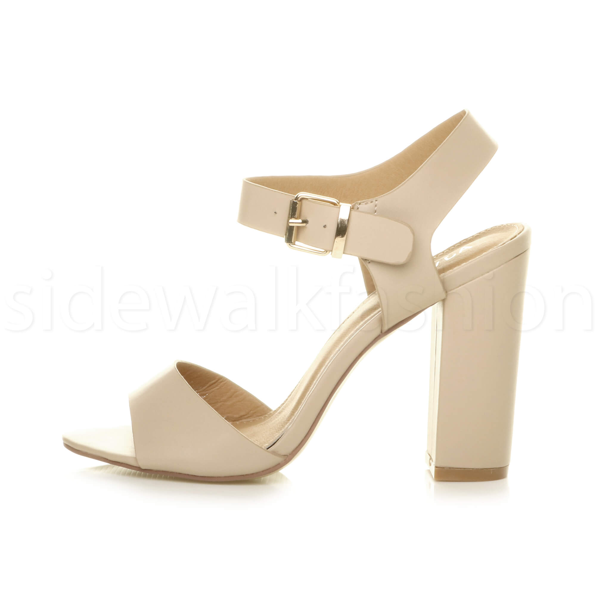 Womens-ladies-chunky-high-heel-buckle-strappy-barely-there-sandals-shoes-size thumbnail 38
