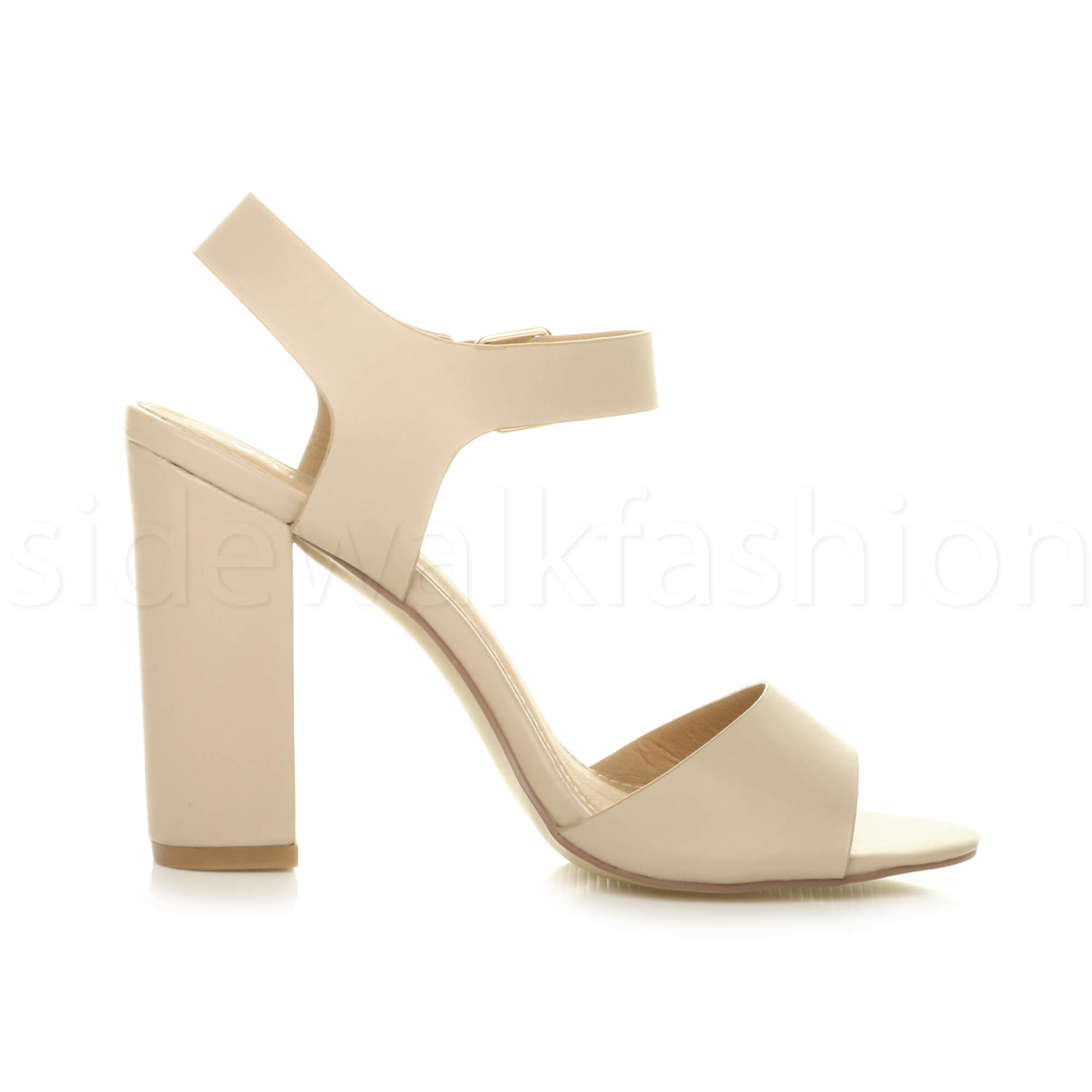 Womens-ladies-chunky-high-heel-buckle-strappy-barely-there-sandals-shoes-size thumbnail 39