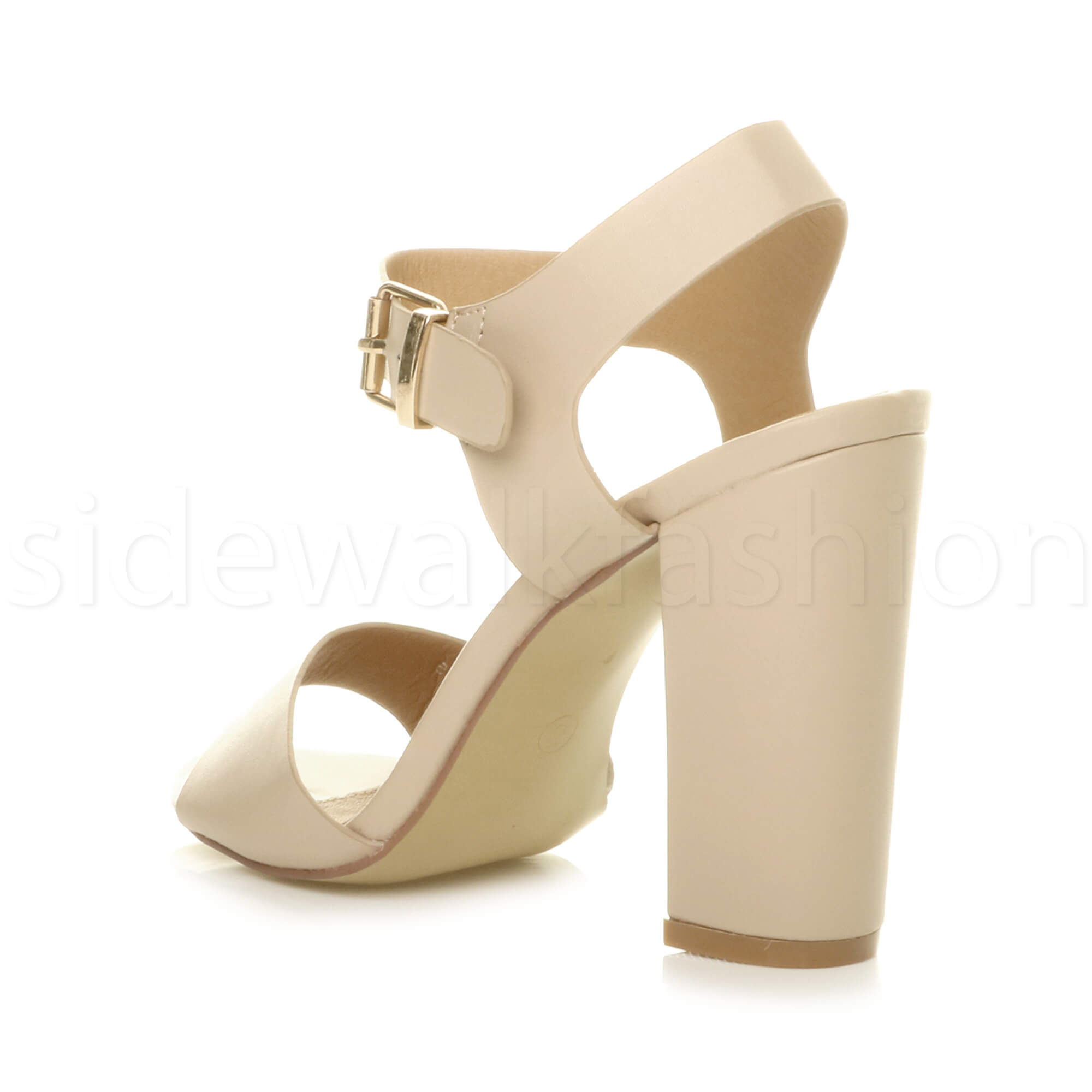Womens-ladies-chunky-high-heel-buckle-strappy-barely-there-sandals-shoes-size thumbnail 40