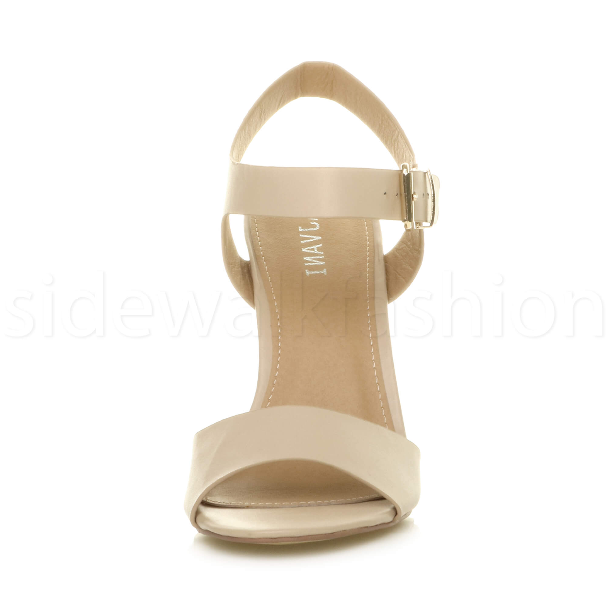 Womens-ladies-chunky-high-heel-buckle-strappy-barely-there-sandals-shoes-size thumbnail 41