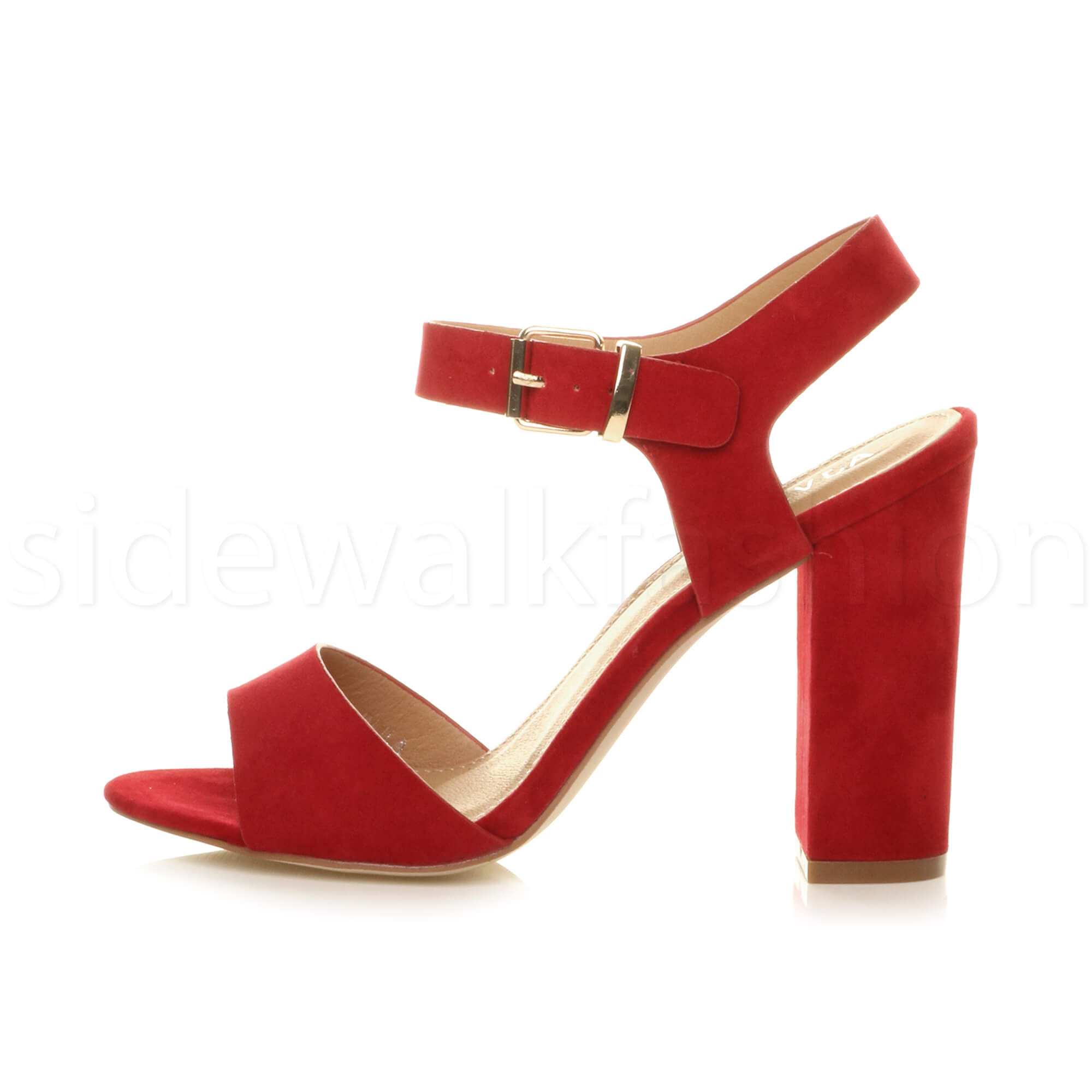 Womens-ladies-chunky-high-heel-buckle-strappy-barely-there-sandals-shoes-size thumbnail 43