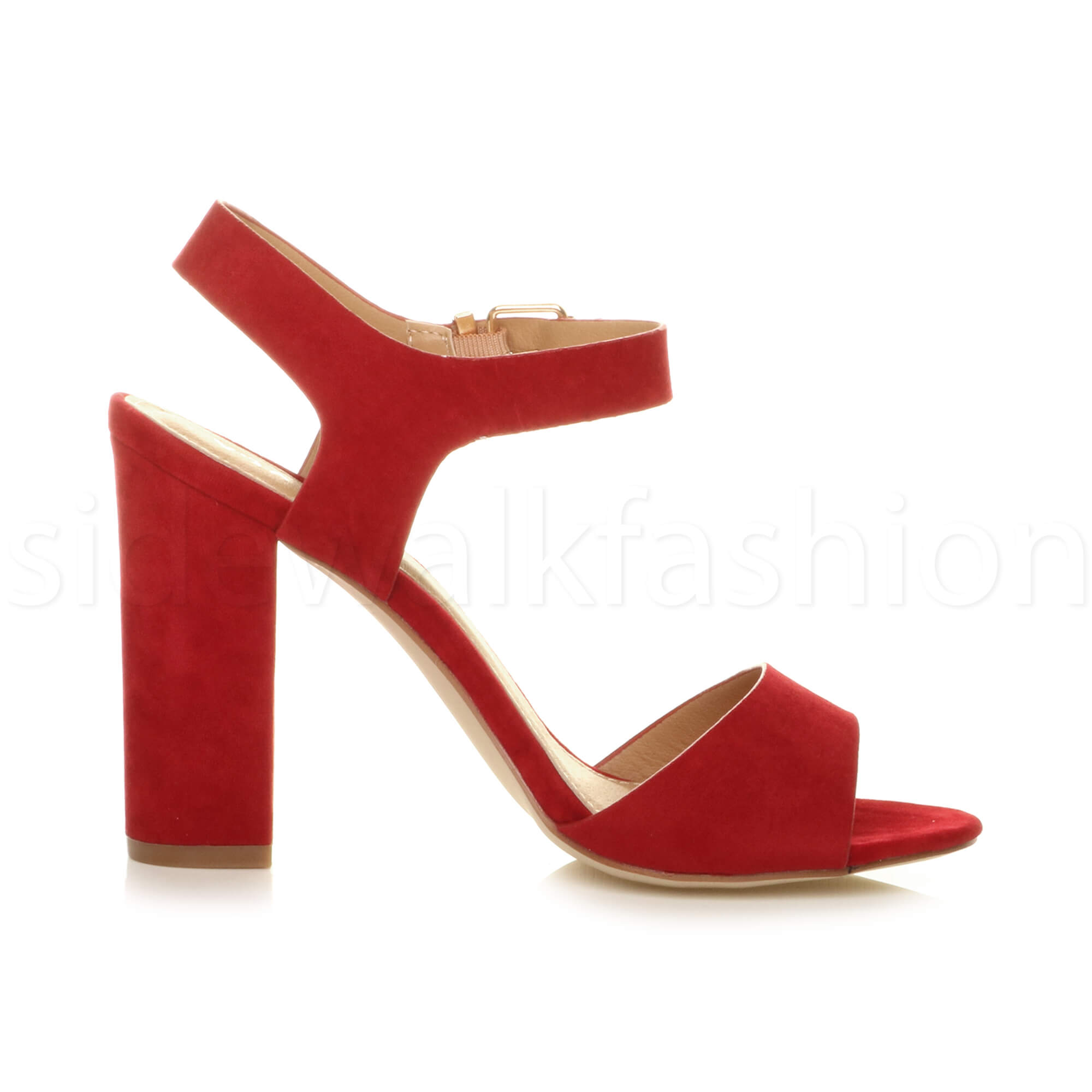 Womens-ladies-chunky-high-heel-buckle-strappy-barely-there-sandals-shoes-size thumbnail 44