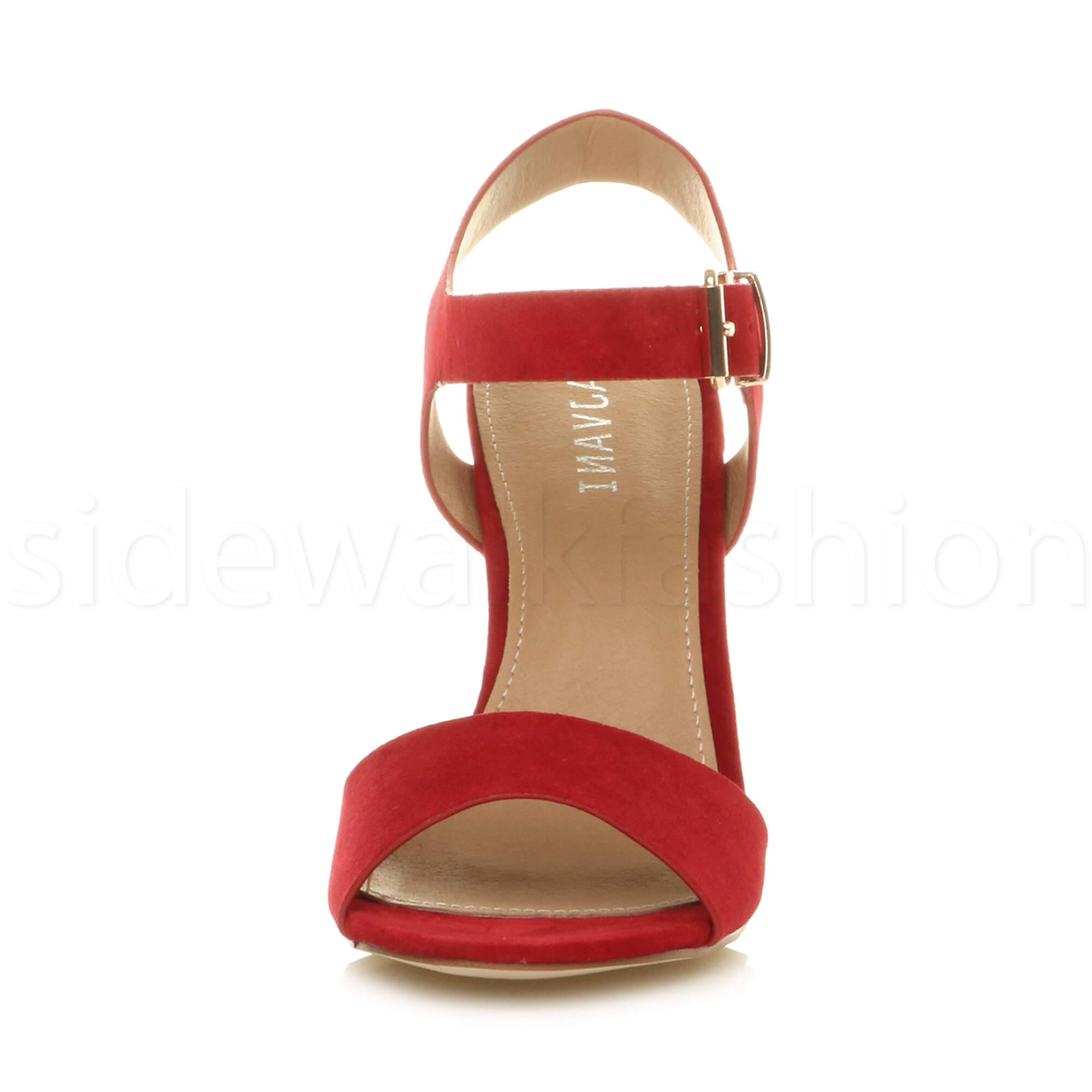 Womens-ladies-chunky-high-heel-buckle-strappy-barely-there-sandals-shoes-size thumbnail 46
