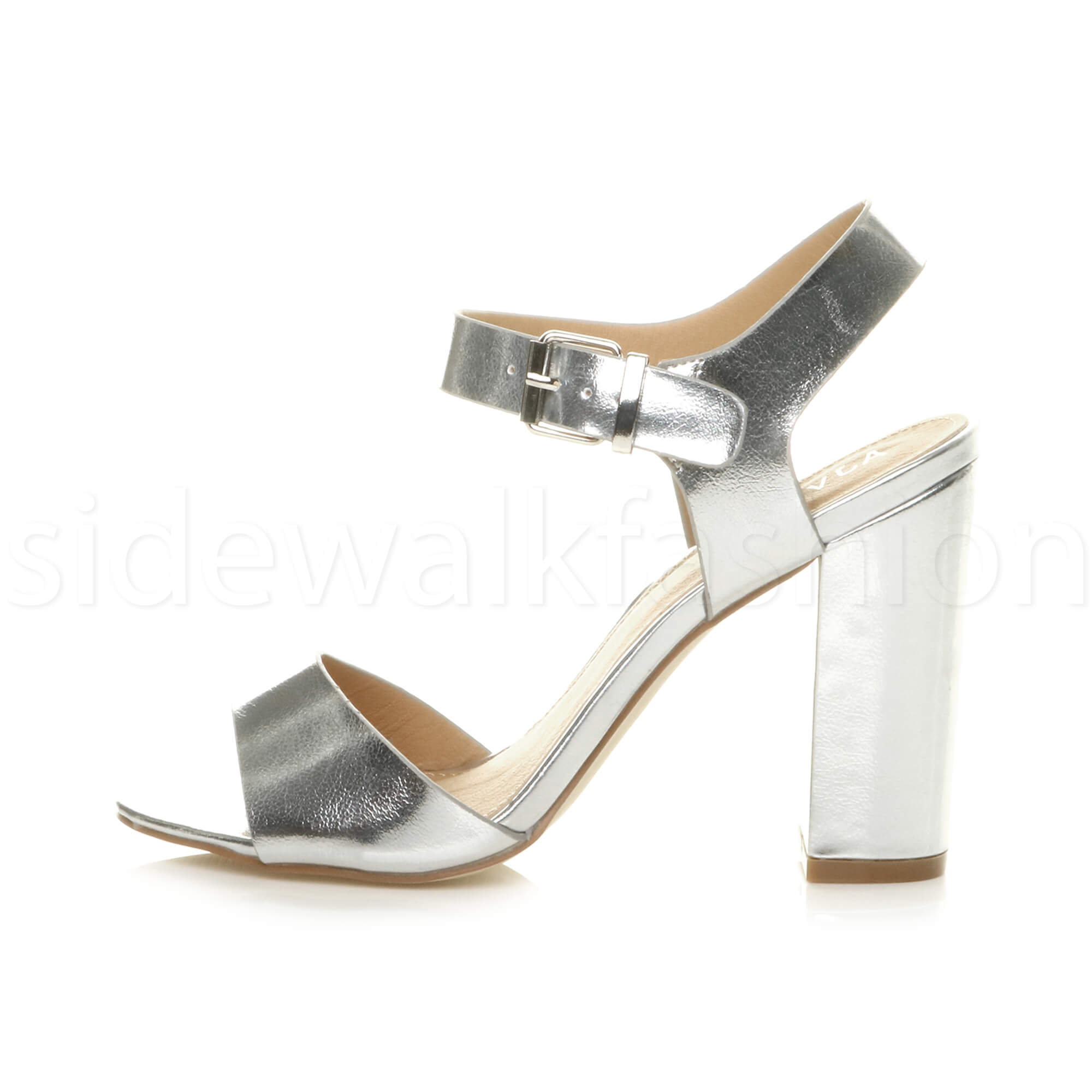Womens-ladies-chunky-high-heel-buckle-strappy-barely-there-sandals-shoes-size thumbnail 48