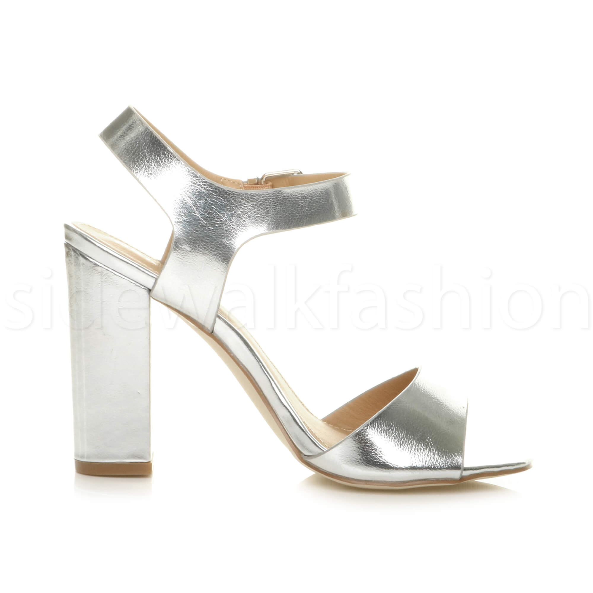 Womens-ladies-chunky-high-heel-buckle-strappy-barely-there-sandals-shoes-size thumbnail 49