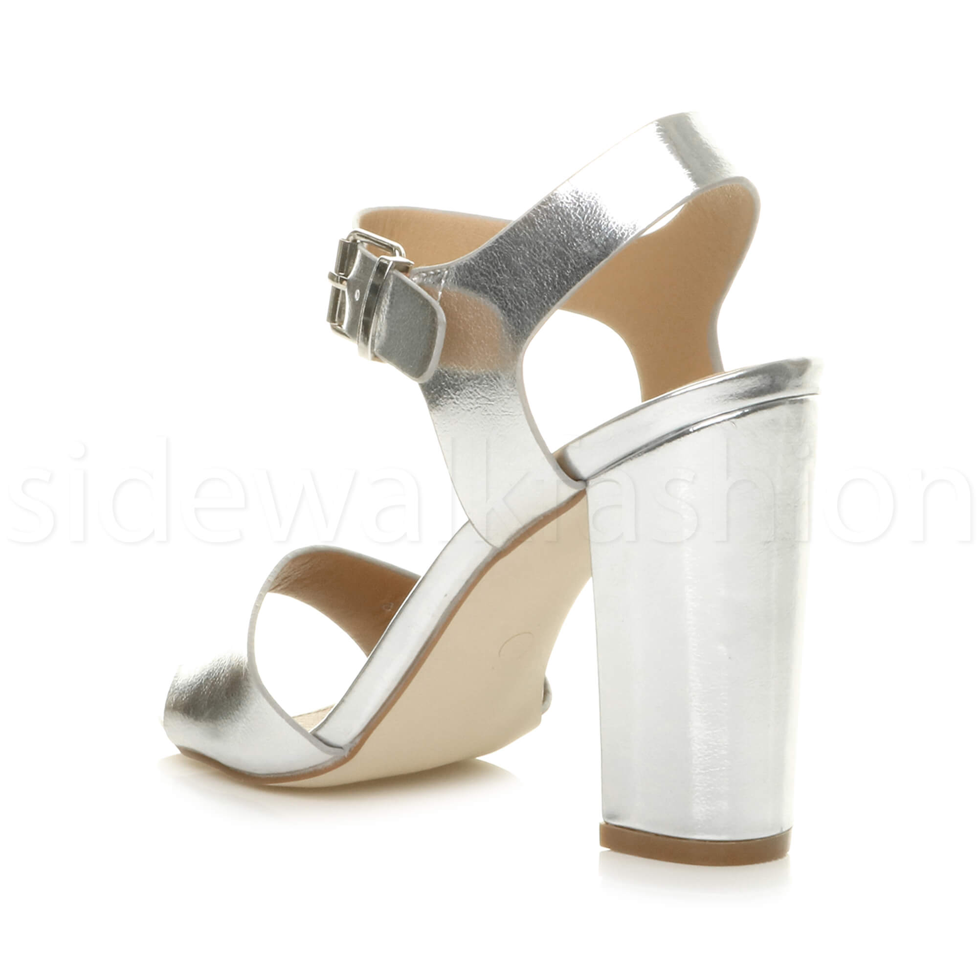 Womens-ladies-chunky-high-heel-buckle-strappy-barely-there-sandals-shoes-size thumbnail 50