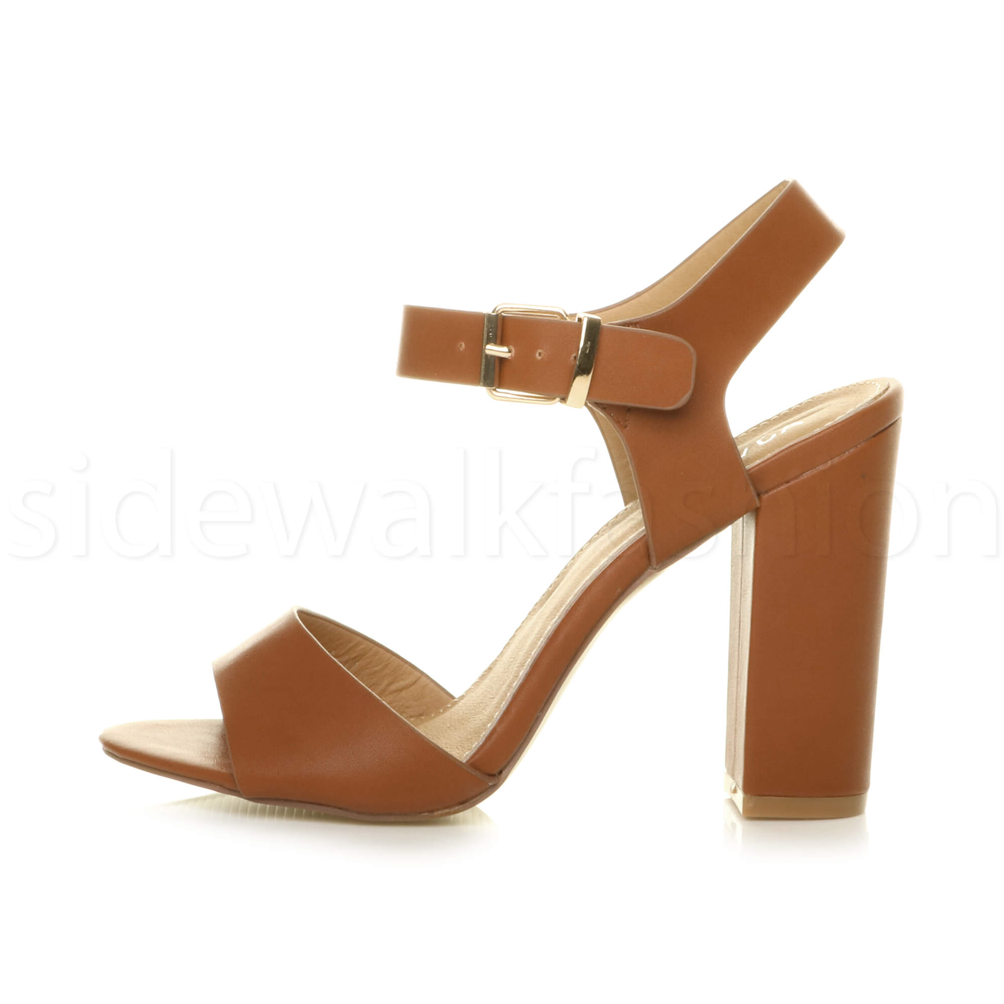 Womens-ladies-chunky-high-heel-buckle-strappy-barely-there-sandals-shoes-size thumbnail 53
