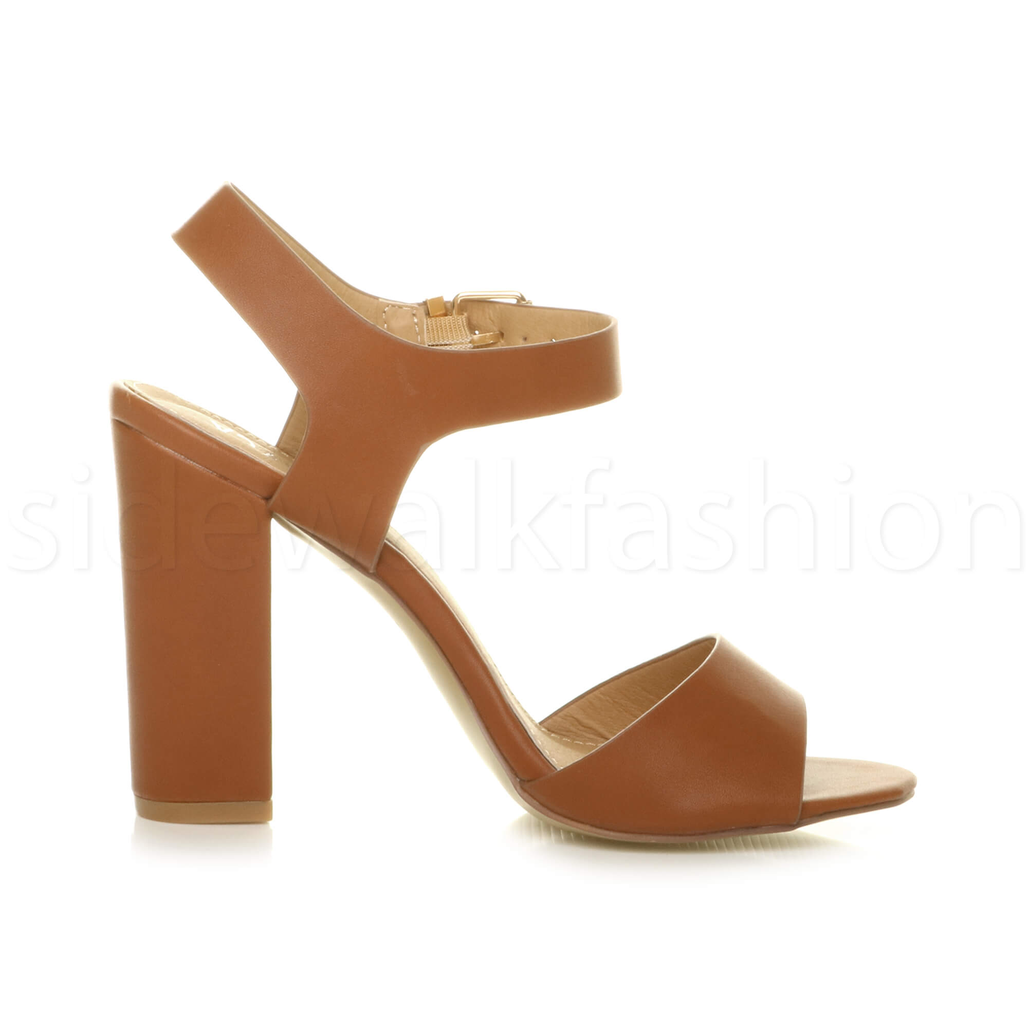 Womens-ladies-chunky-high-heel-buckle-strappy-barely-there-sandals-shoes-size thumbnail 54