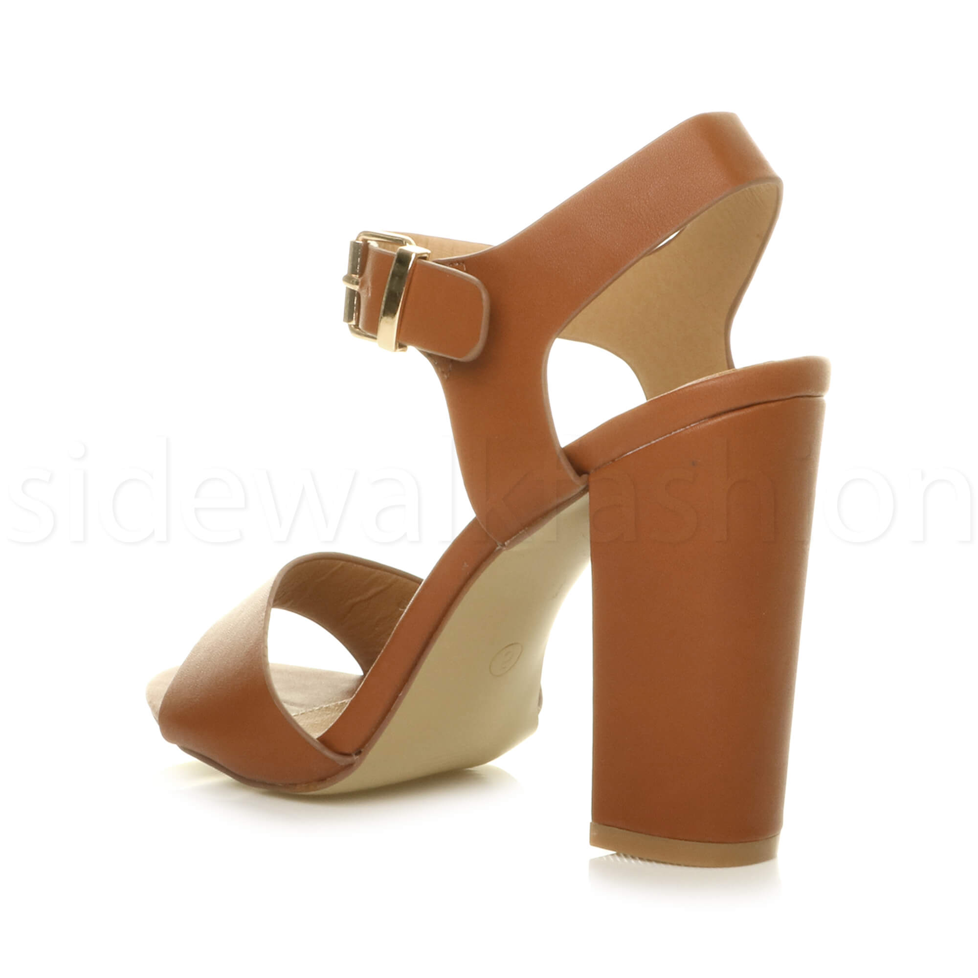 Womens-ladies-chunky-high-heel-buckle-strappy-barely-there-sandals-shoes-size thumbnail 55