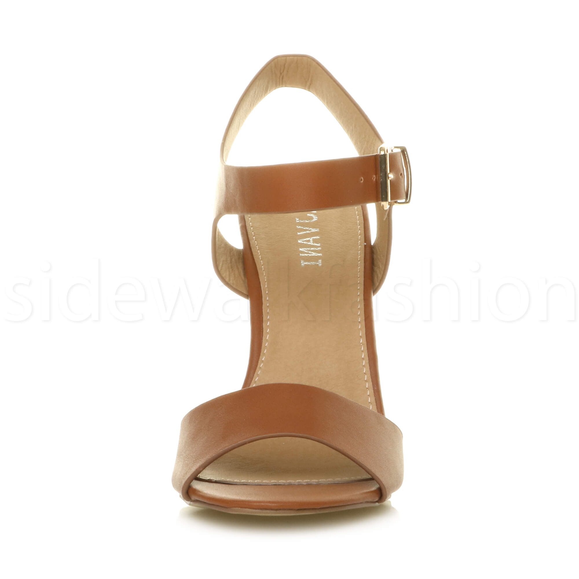 Womens-ladies-chunky-high-heel-buckle-strappy-barely-there-sandals-shoes-size thumbnail 56