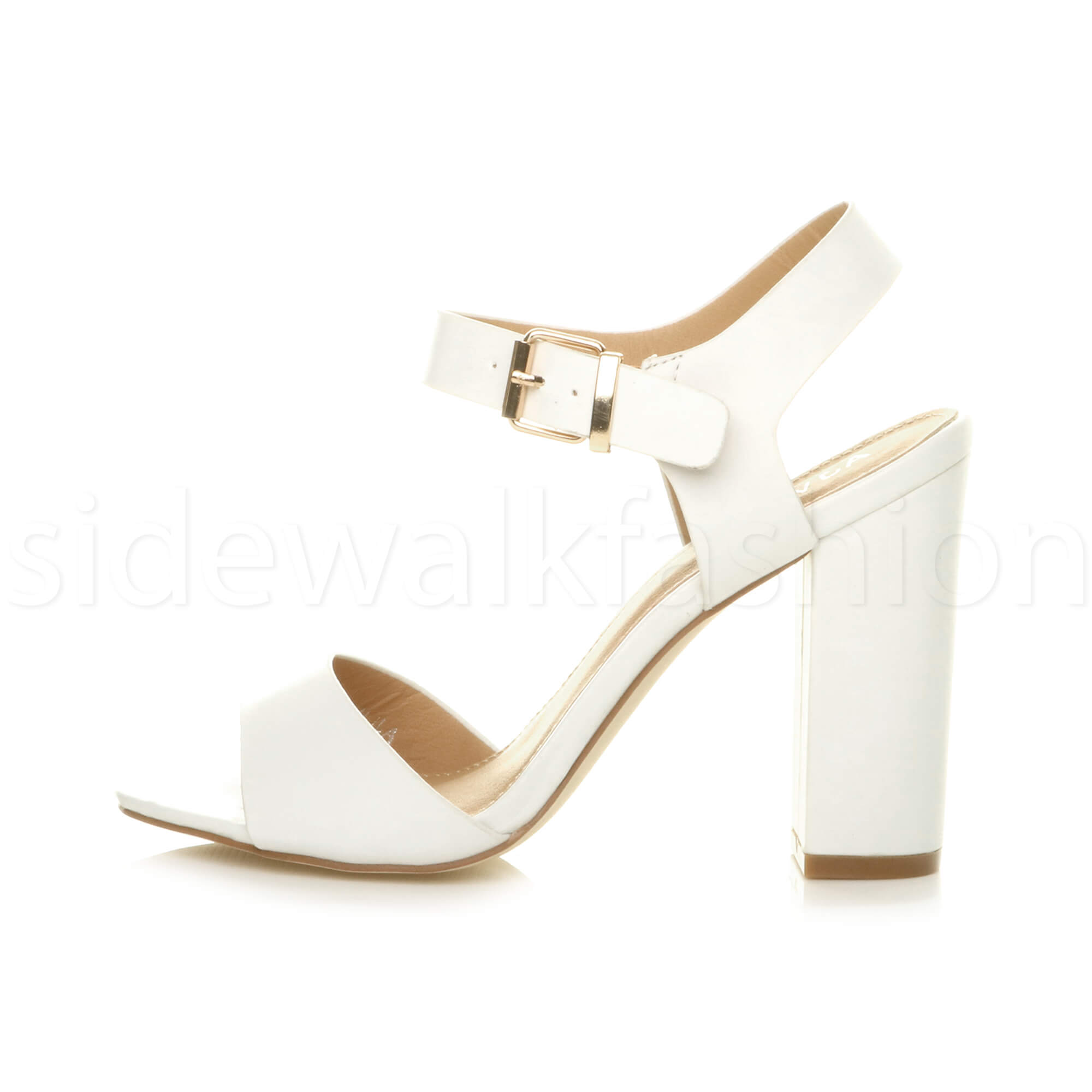 Womens-ladies-chunky-high-heel-buckle-strappy-barely-there-sandals-shoes-size thumbnail 58