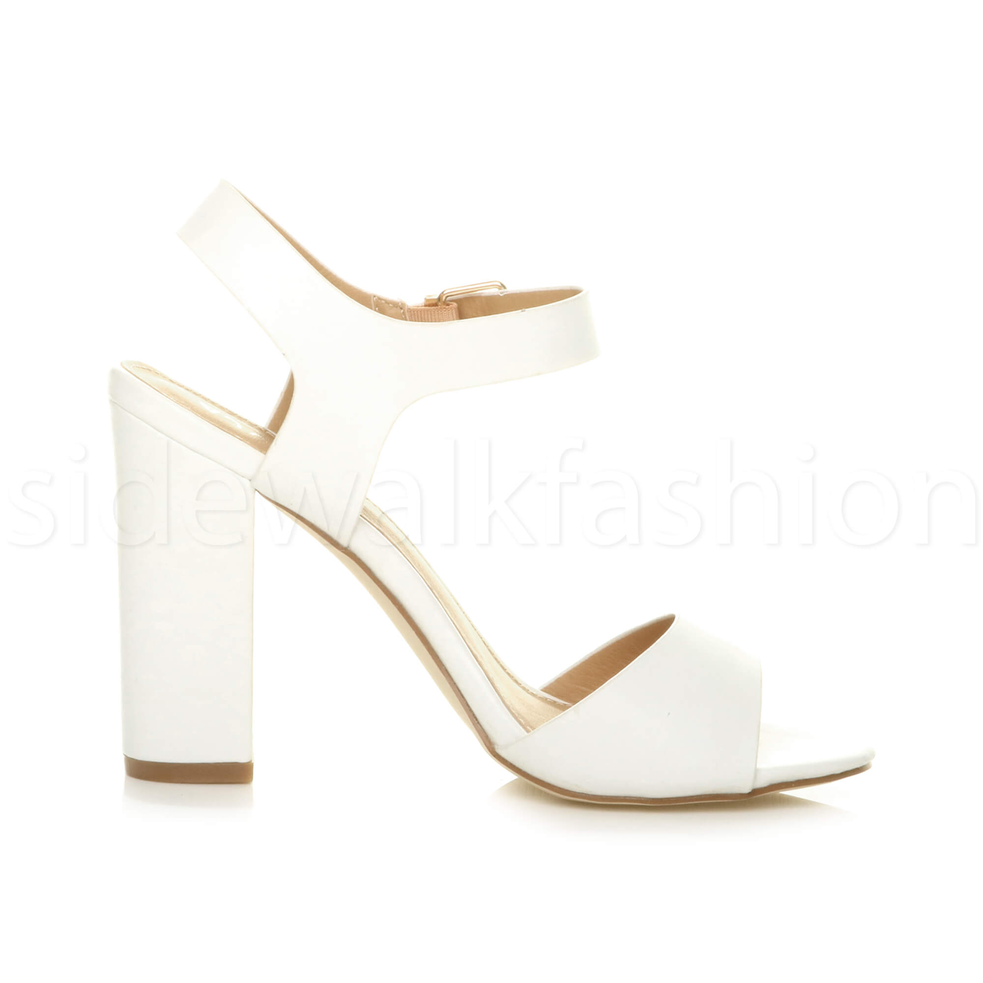 Womens-ladies-chunky-high-heel-buckle-strappy-barely-there-sandals-shoes-size thumbnail 59