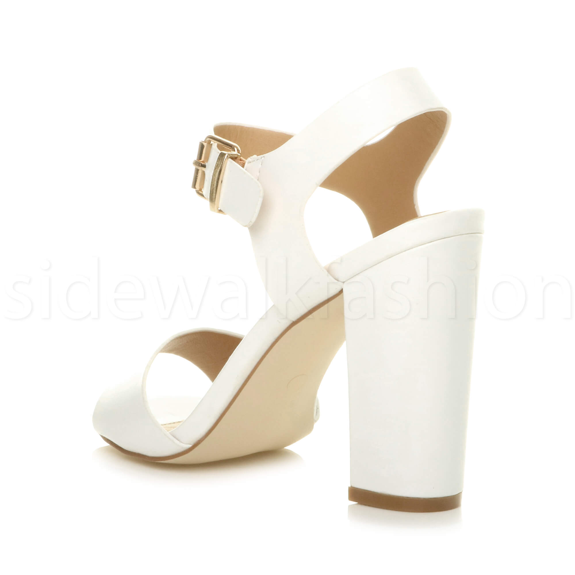 Womens-ladies-chunky-high-heel-buckle-strappy-barely-there-sandals-shoes-size thumbnail 60