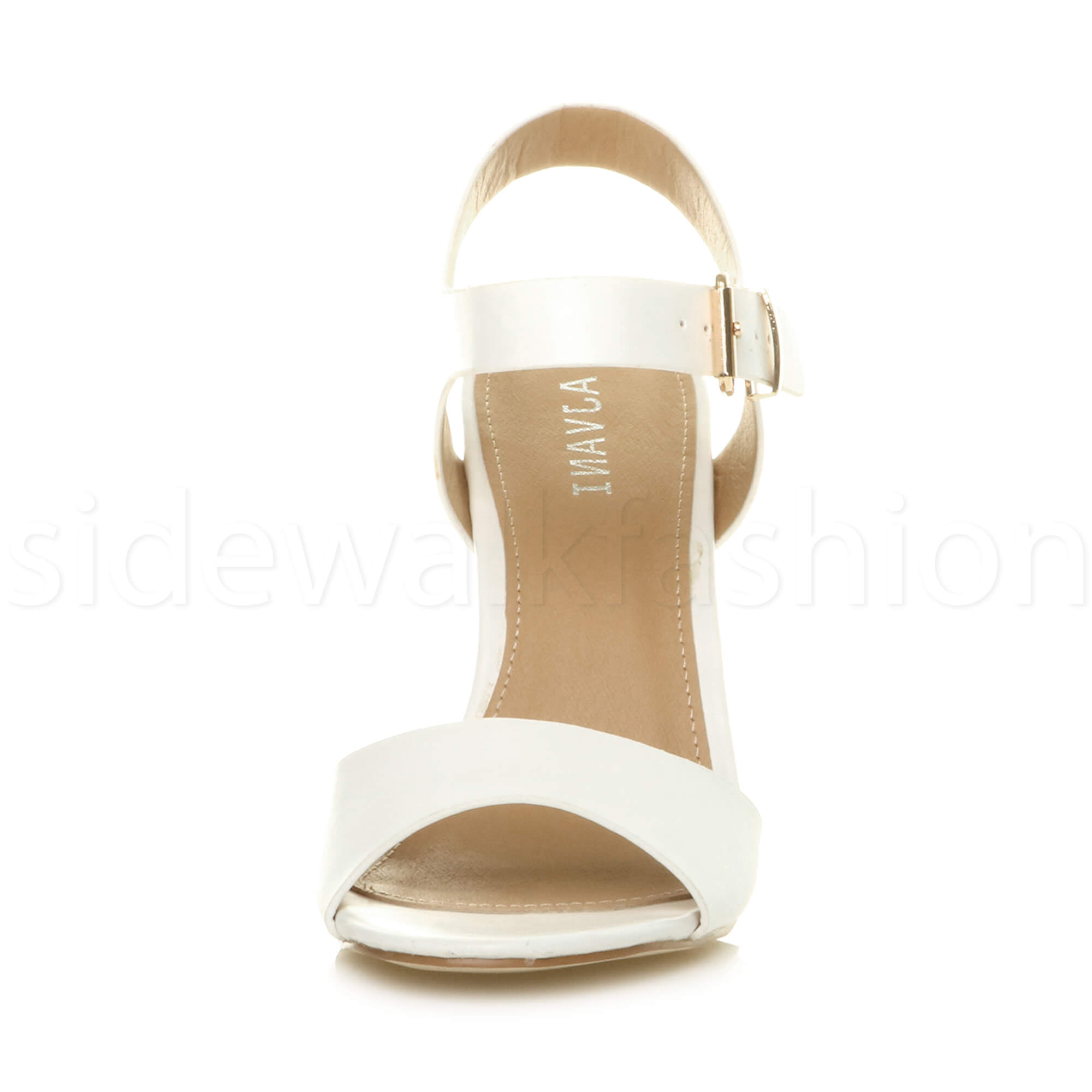 Womens-ladies-chunky-high-heel-buckle-strappy-barely-there-sandals-shoes-size thumbnail 61