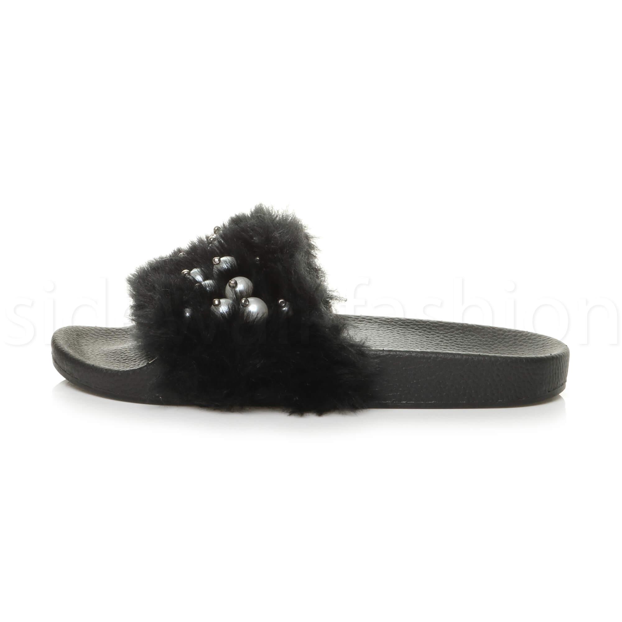 09de1d5e9c02 Womens Ladies Flat Faux Fur Comfy Slip on Flip Flop Sliders SLIPPER ...
