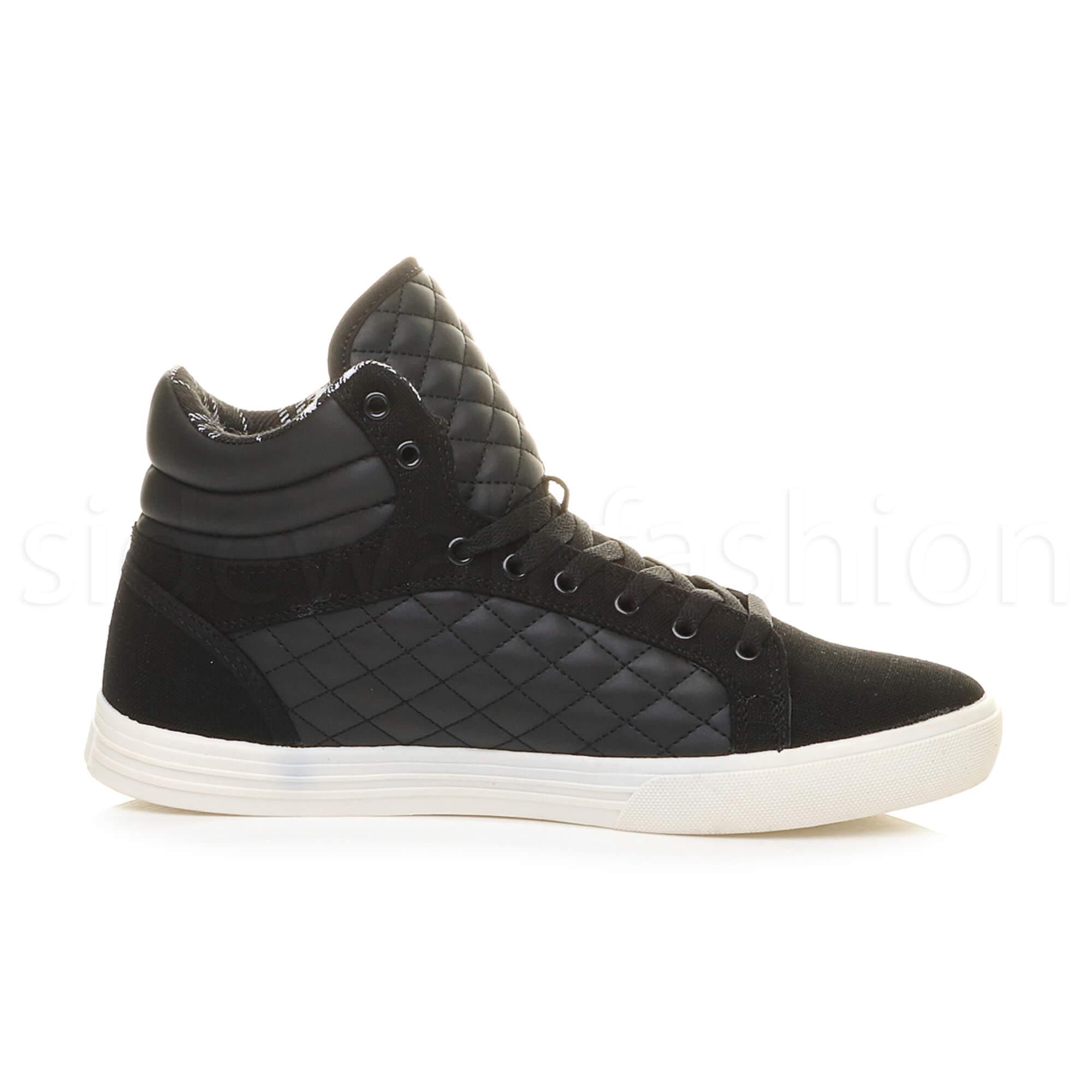 Mens-flat-lace-up-quilted-casual-hi-high-top-ankle-boots-trainers-sneakers-size thumbnail 4