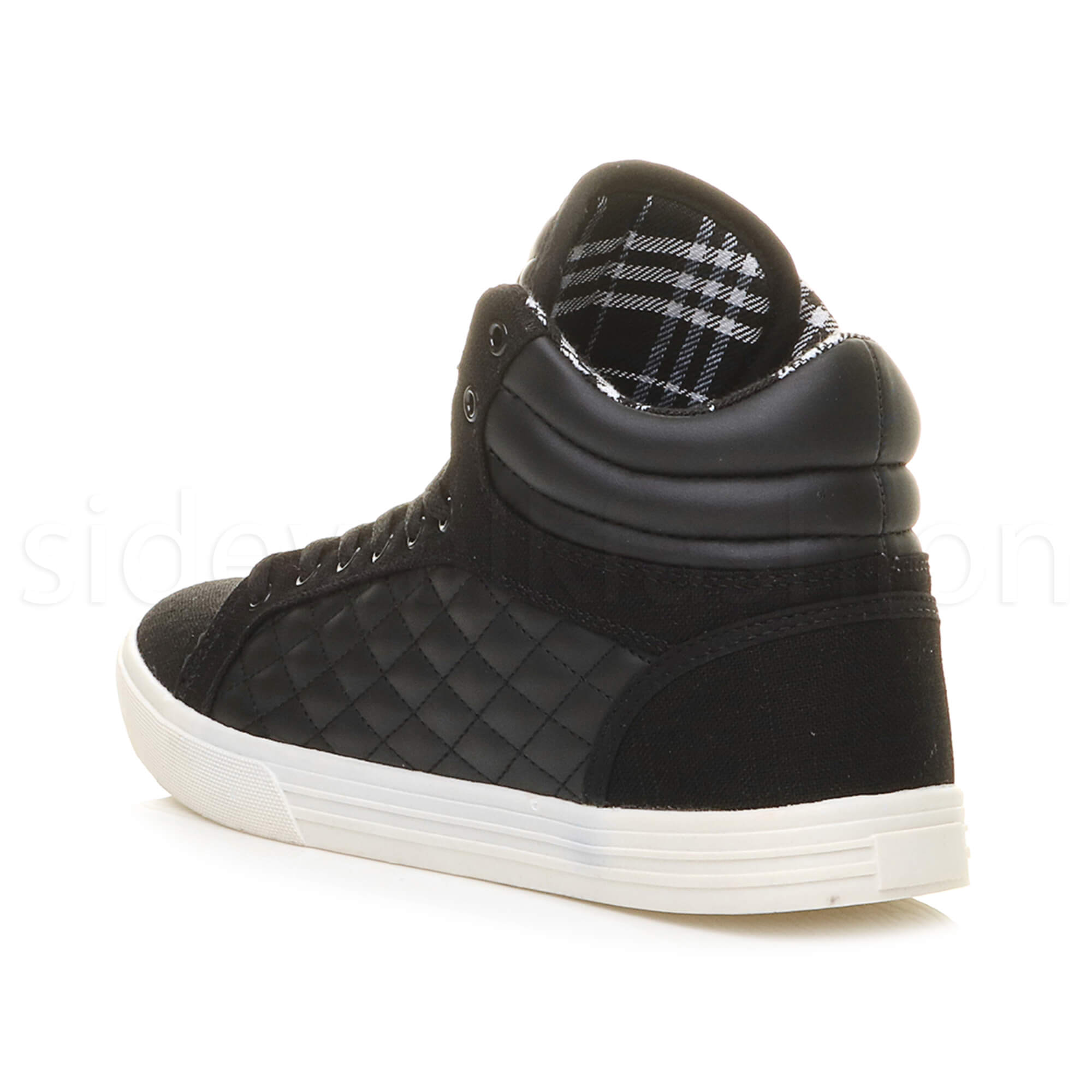Mens-flat-lace-up-quilted-casual-hi-high-top-ankle-boots-trainers-sneakers-size thumbnail 5