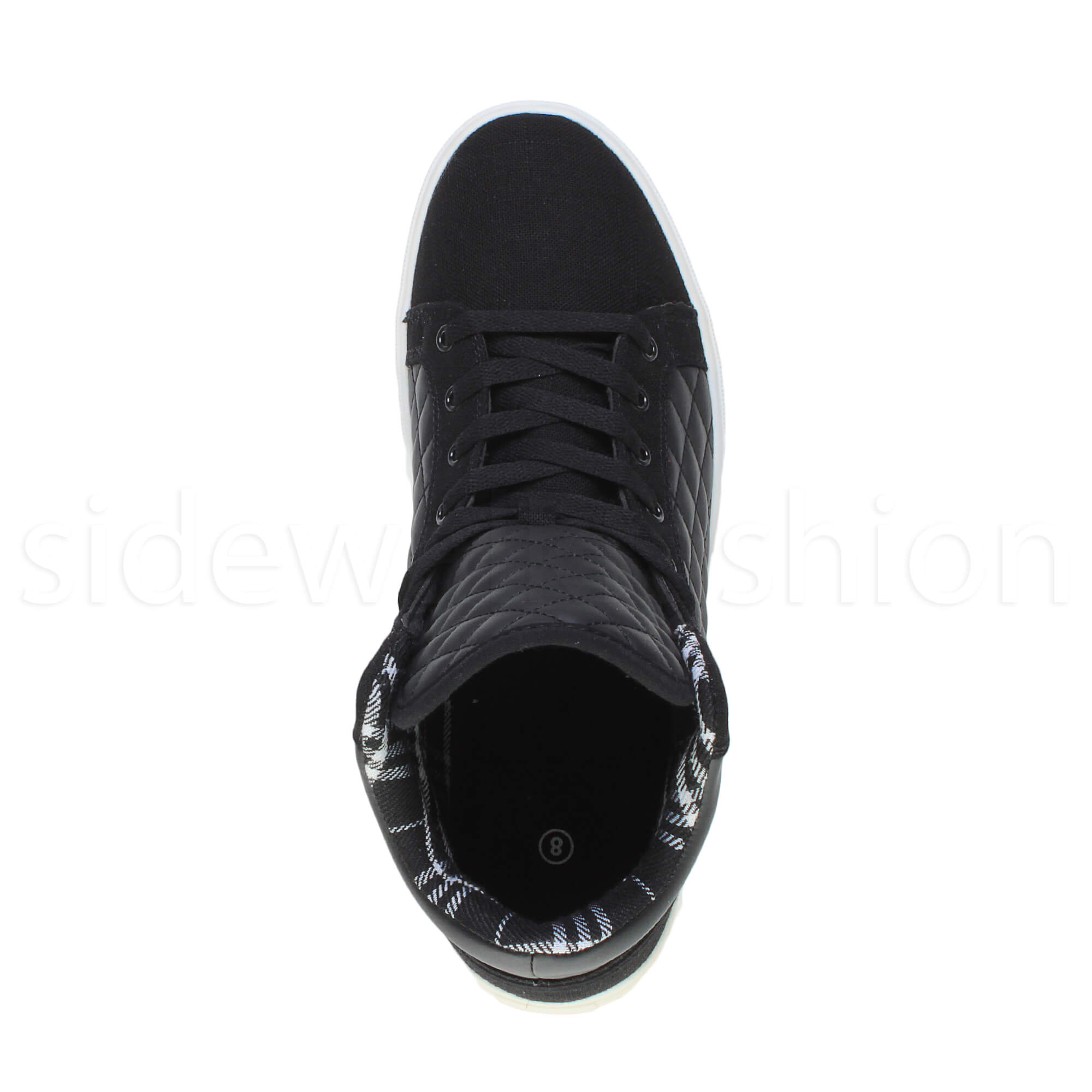 Mens-flat-lace-up-quilted-casual-hi-high-top-ankle-boots-trainers-sneakers-size thumbnail 6