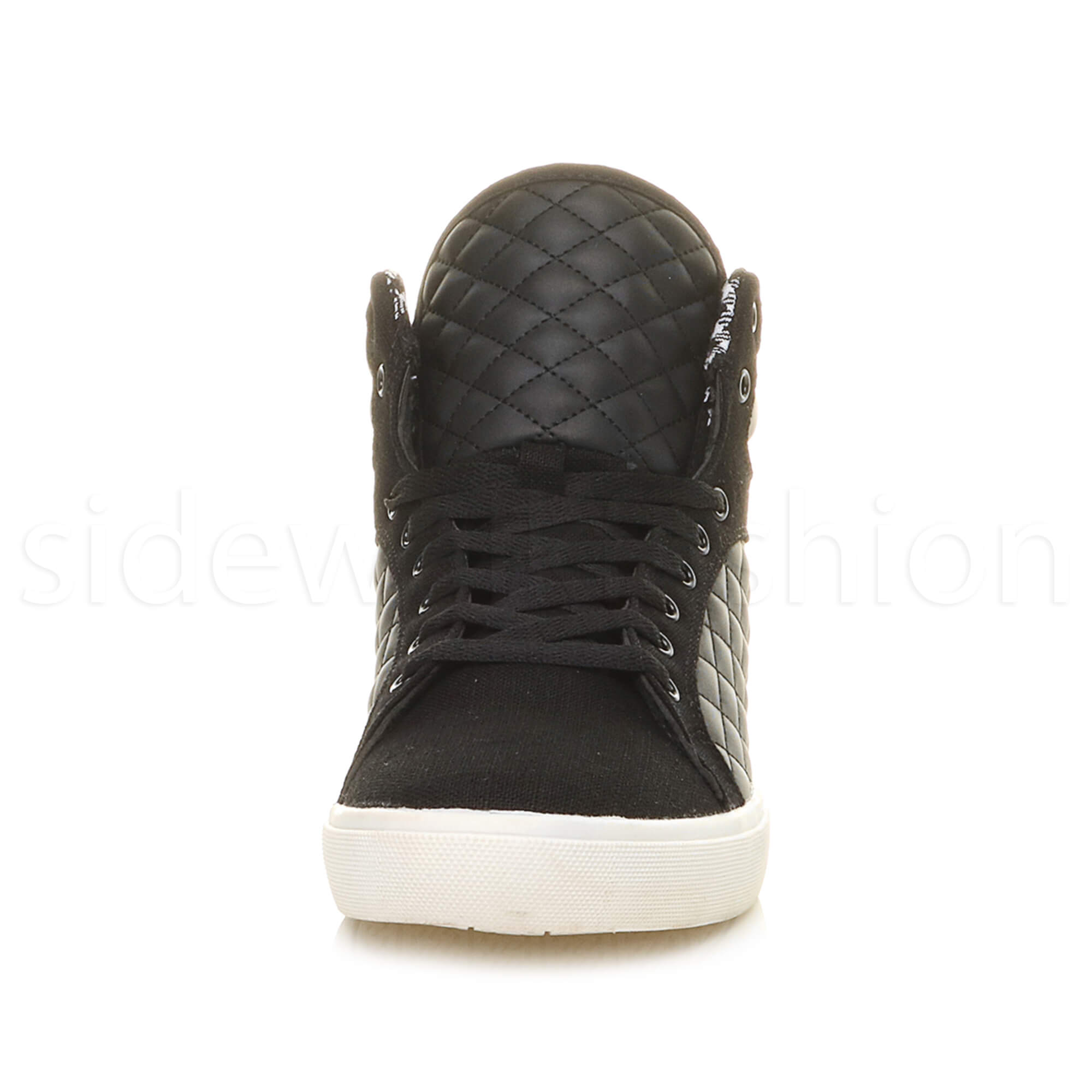 Mens-flat-lace-up-quilted-casual-hi-high-top-ankle-boots-trainers-sneakers-size thumbnail 7