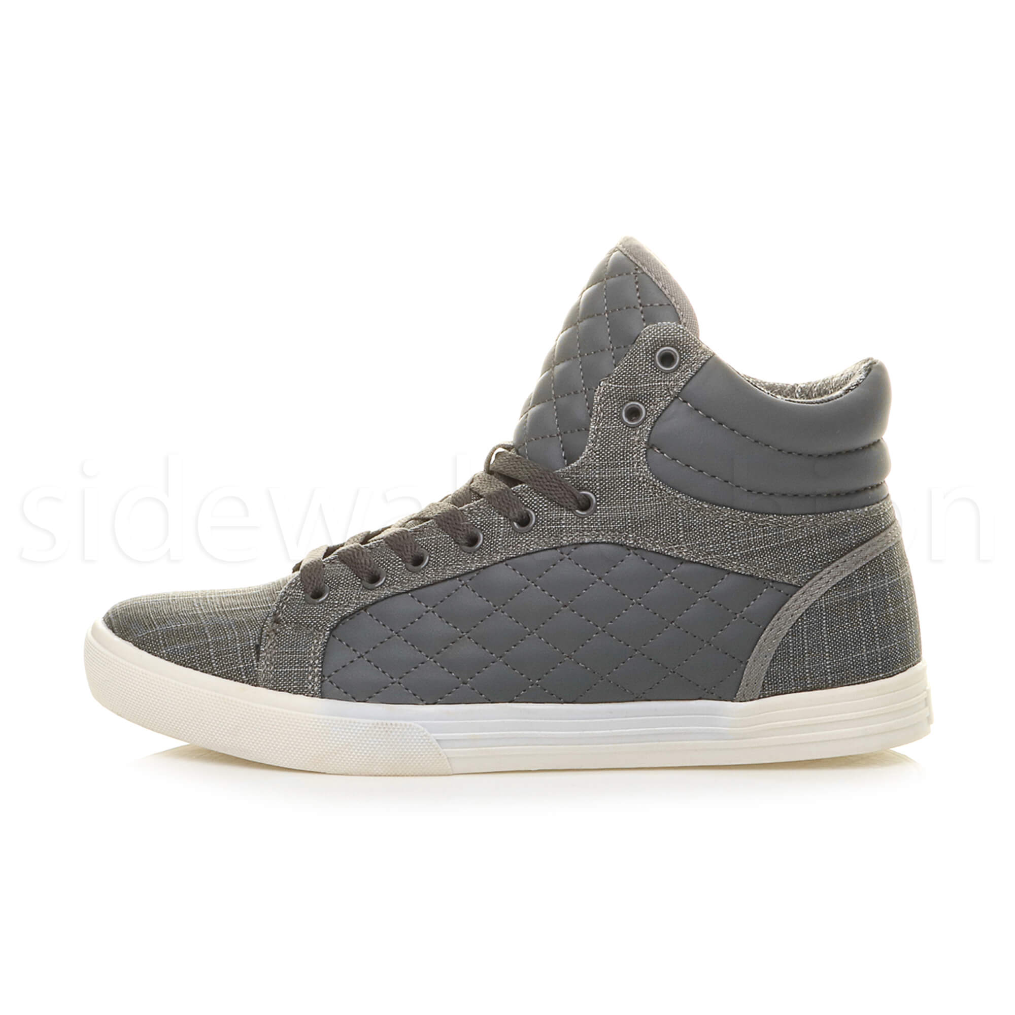 Mens-flat-lace-up-quilted-casual-hi-high-top-ankle-boots-trainers-sneakers-size thumbnail 10