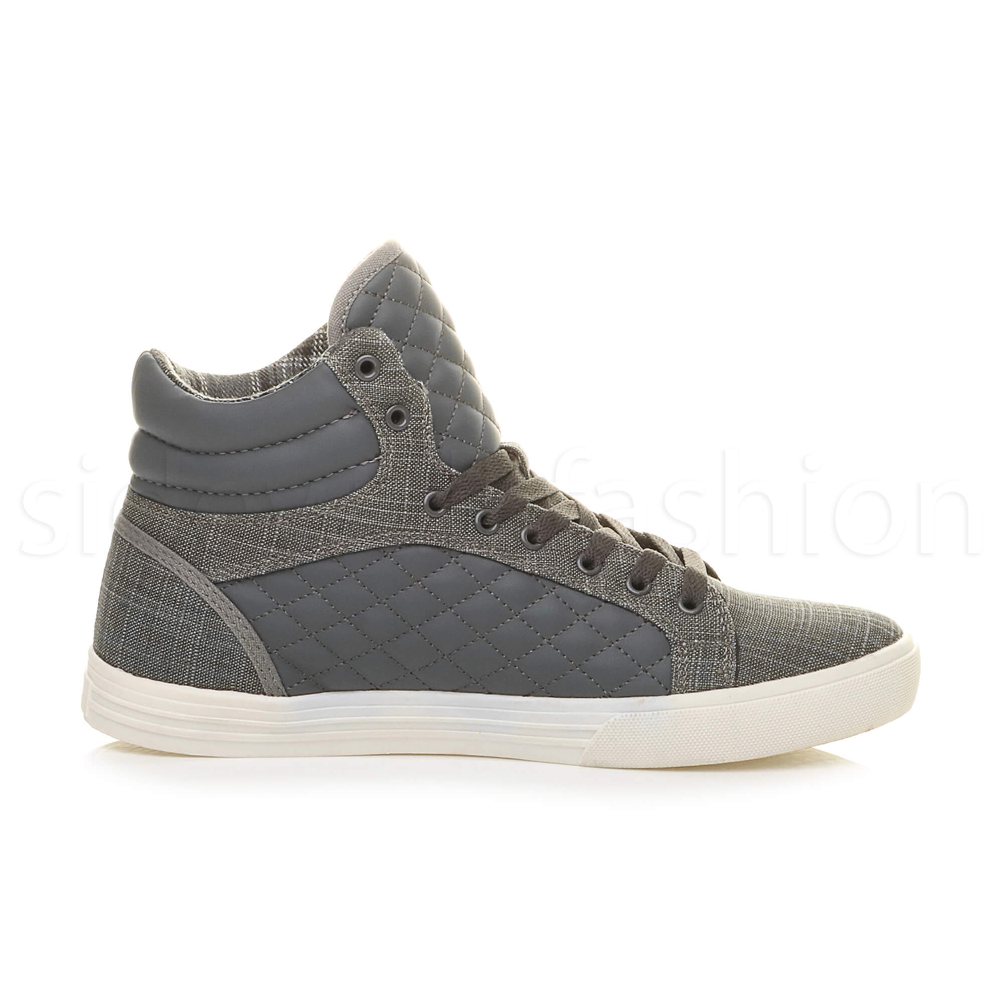Mens-flat-lace-up-quilted-casual-hi-high-top-ankle-boots-trainers-sneakers-size thumbnail 11