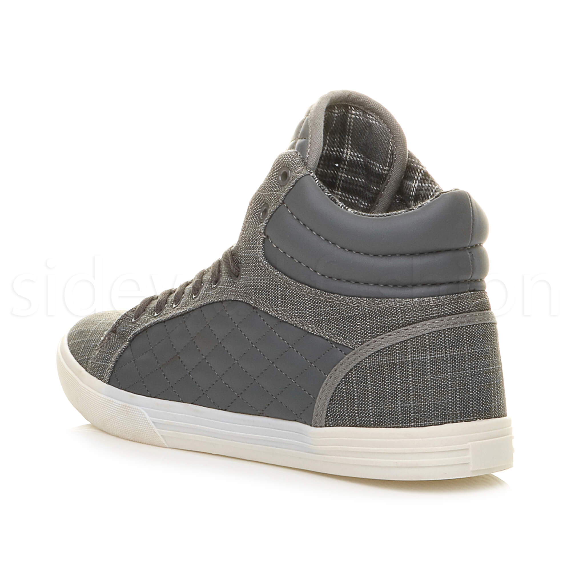 Mens-flat-lace-up-quilted-casual-hi-high-top-ankle-boots-trainers-sneakers-size thumbnail 12