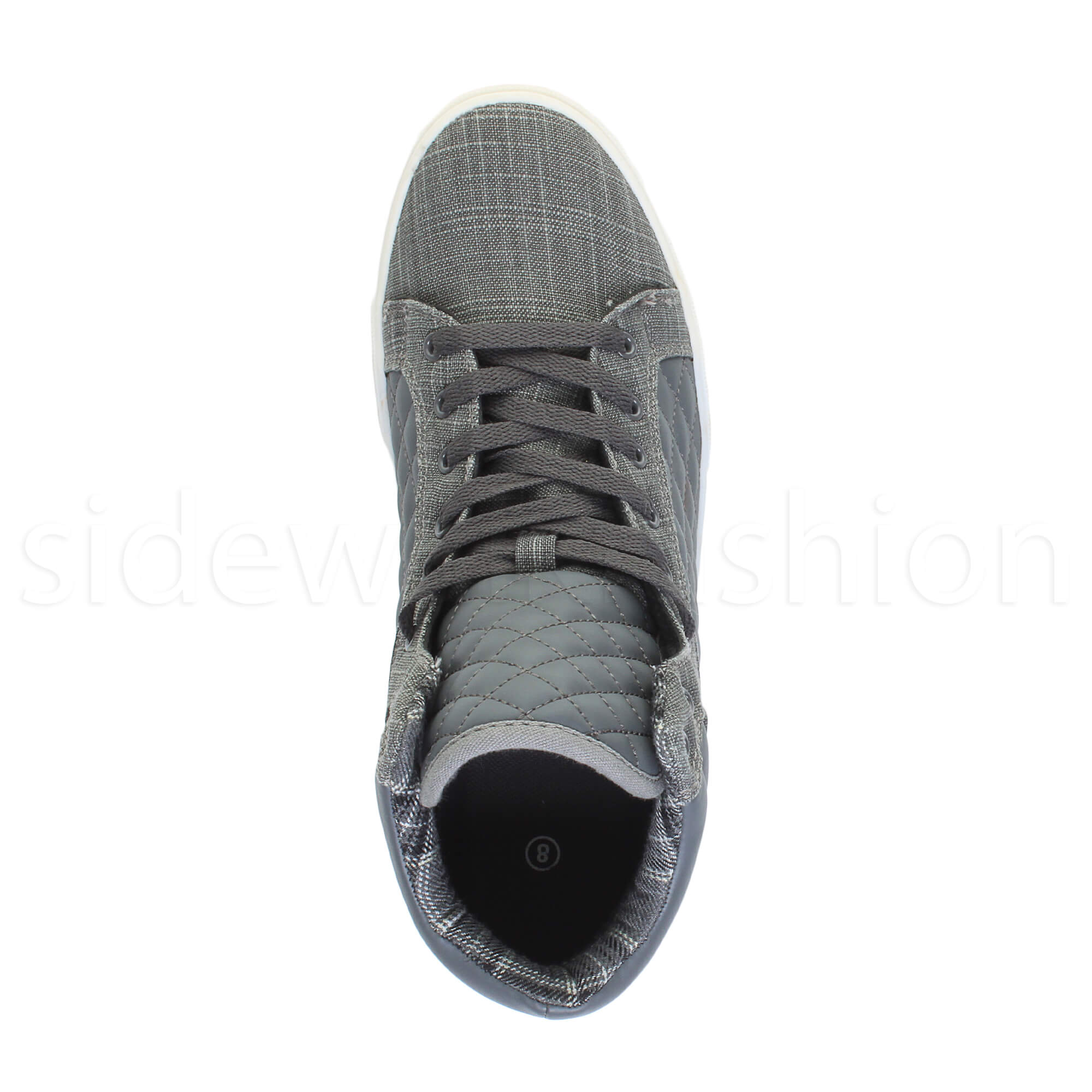 Mens-flat-lace-up-quilted-casual-hi-high-top-ankle-boots-trainers-sneakers-size thumbnail 13