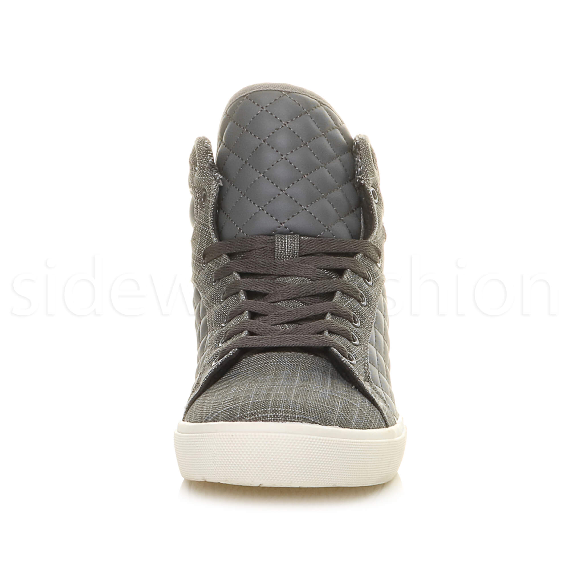 Mens-flat-lace-up-quilted-casual-hi-high-top-ankle-boots-trainers-sneakers-size thumbnail 14