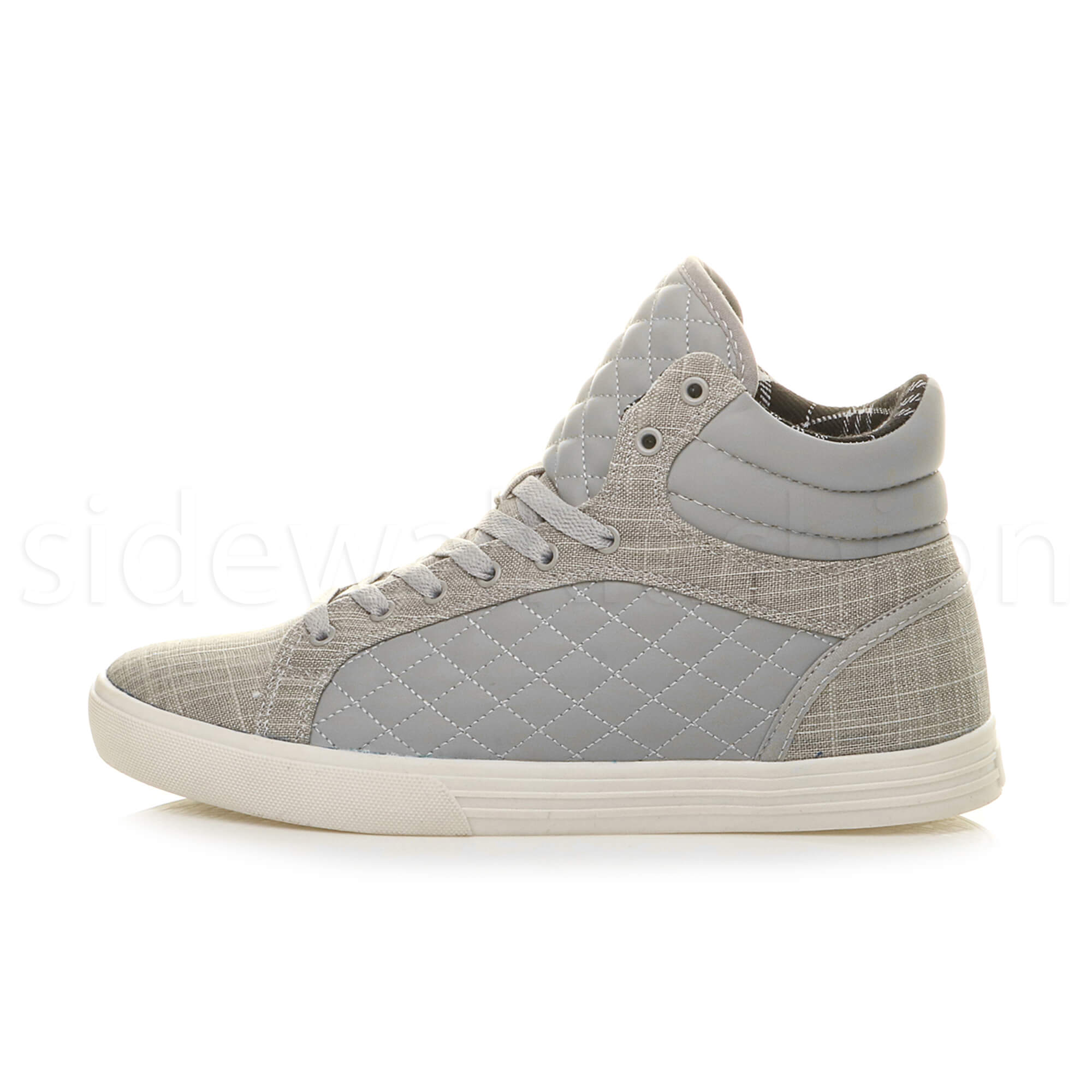 Mens-flat-lace-up-quilted-casual-hi-high-top-ankle-boots-trainers-sneakers-size thumbnail 17