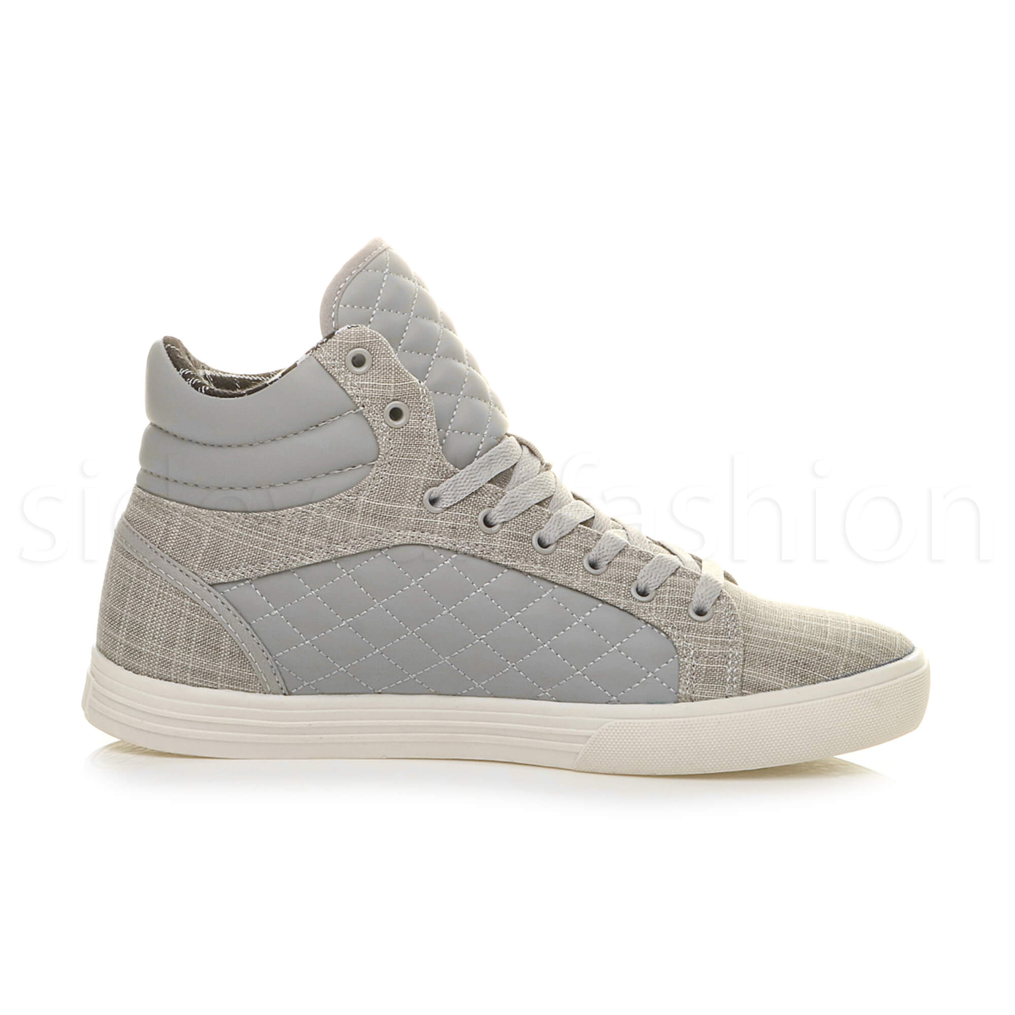 Mens-flat-lace-up-quilted-casual-hi-high-top-ankle-boots-trainers-sneakers-size thumbnail 18