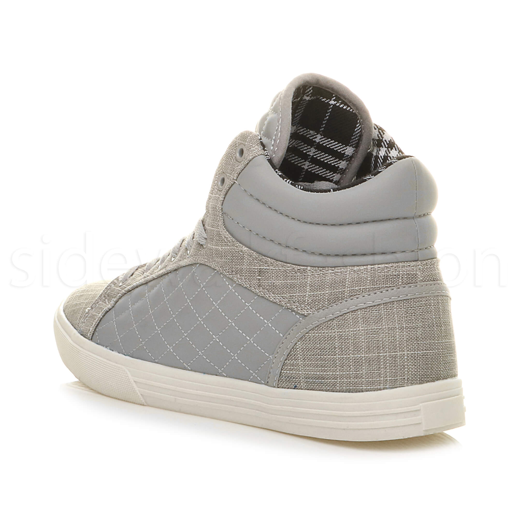 Mens-flat-lace-up-quilted-casual-hi-high-top-ankle-boots-trainers-sneakers-size thumbnail 19
