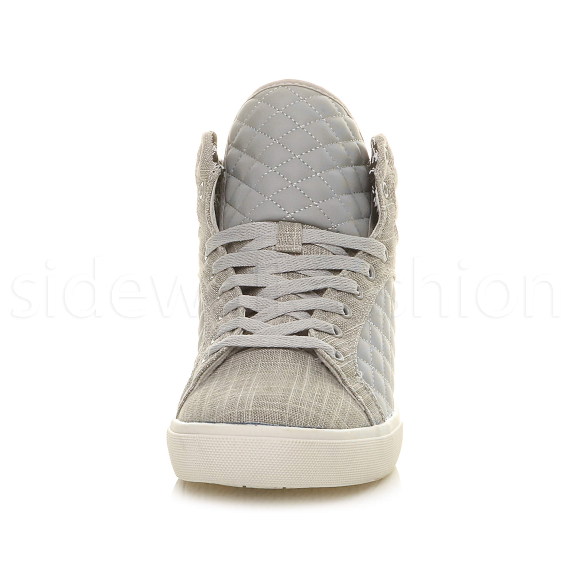 Mens-flat-lace-up-quilted-casual-hi-high-top-ankle-boots-trainers-sneakers-size thumbnail 21