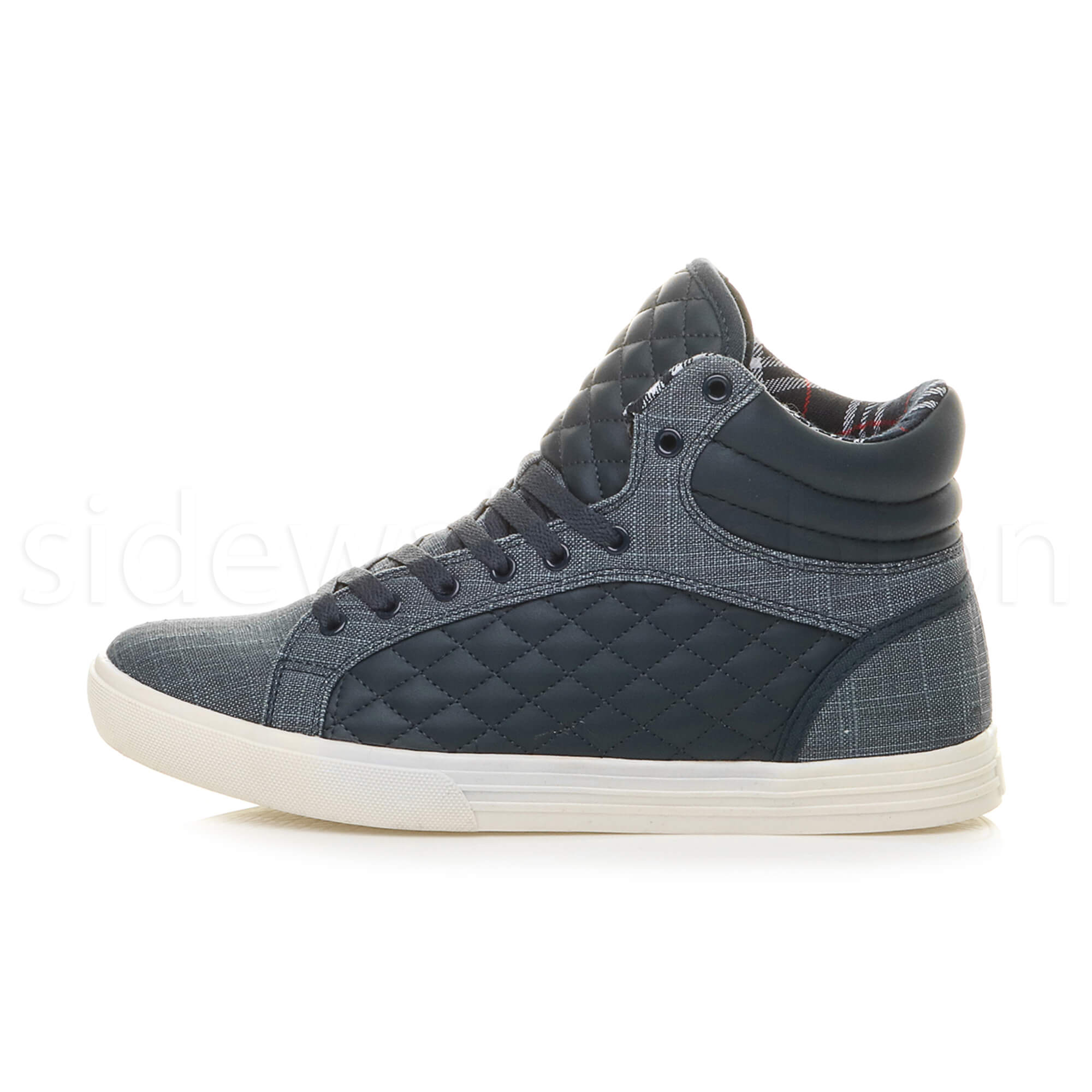 Mens-flat-lace-up-quilted-casual-hi-high-top-ankle-boots-trainers-sneakers-size thumbnail 24