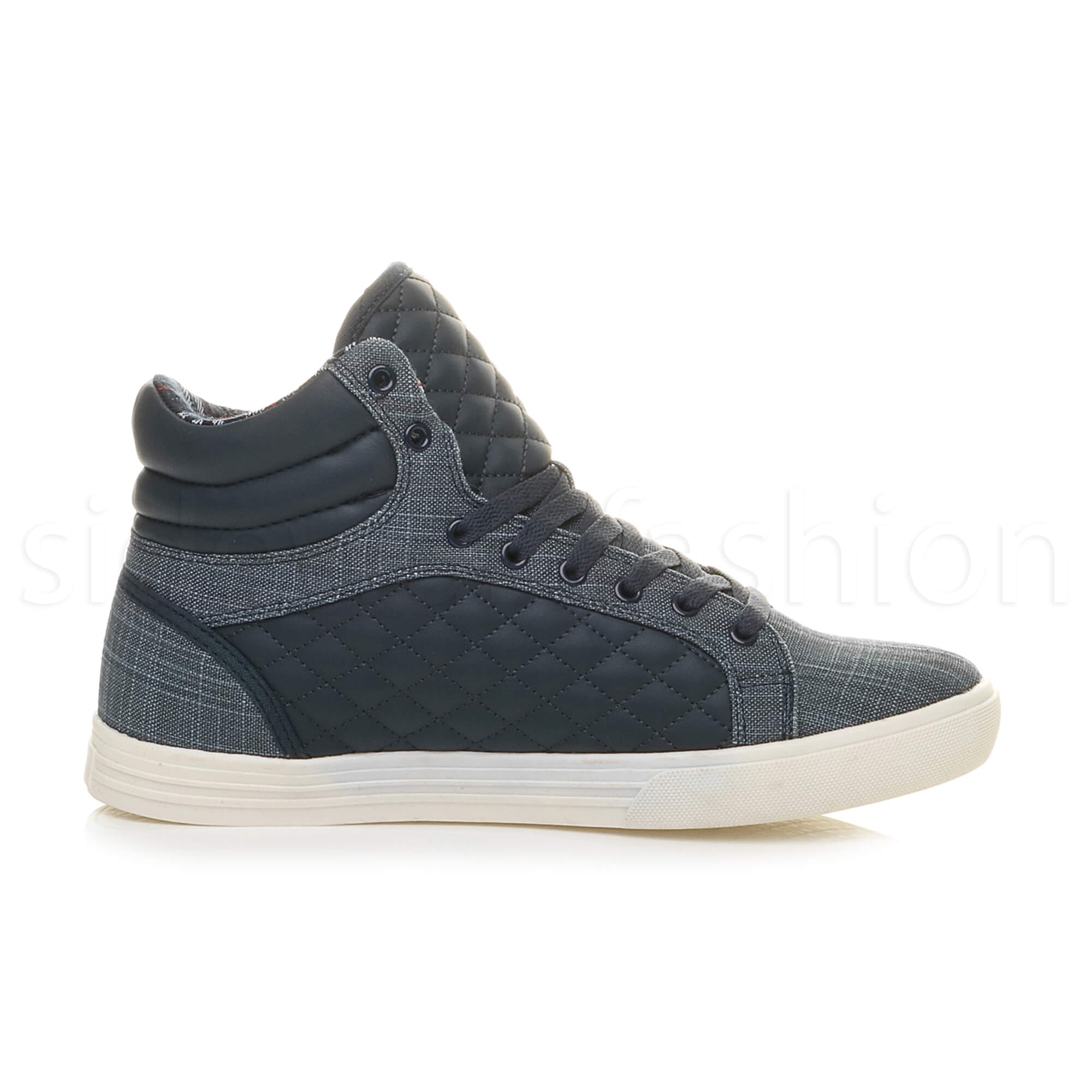 Mens-flat-lace-up-quilted-casual-hi-high-top-ankle-boots-trainers-sneakers-size thumbnail 25