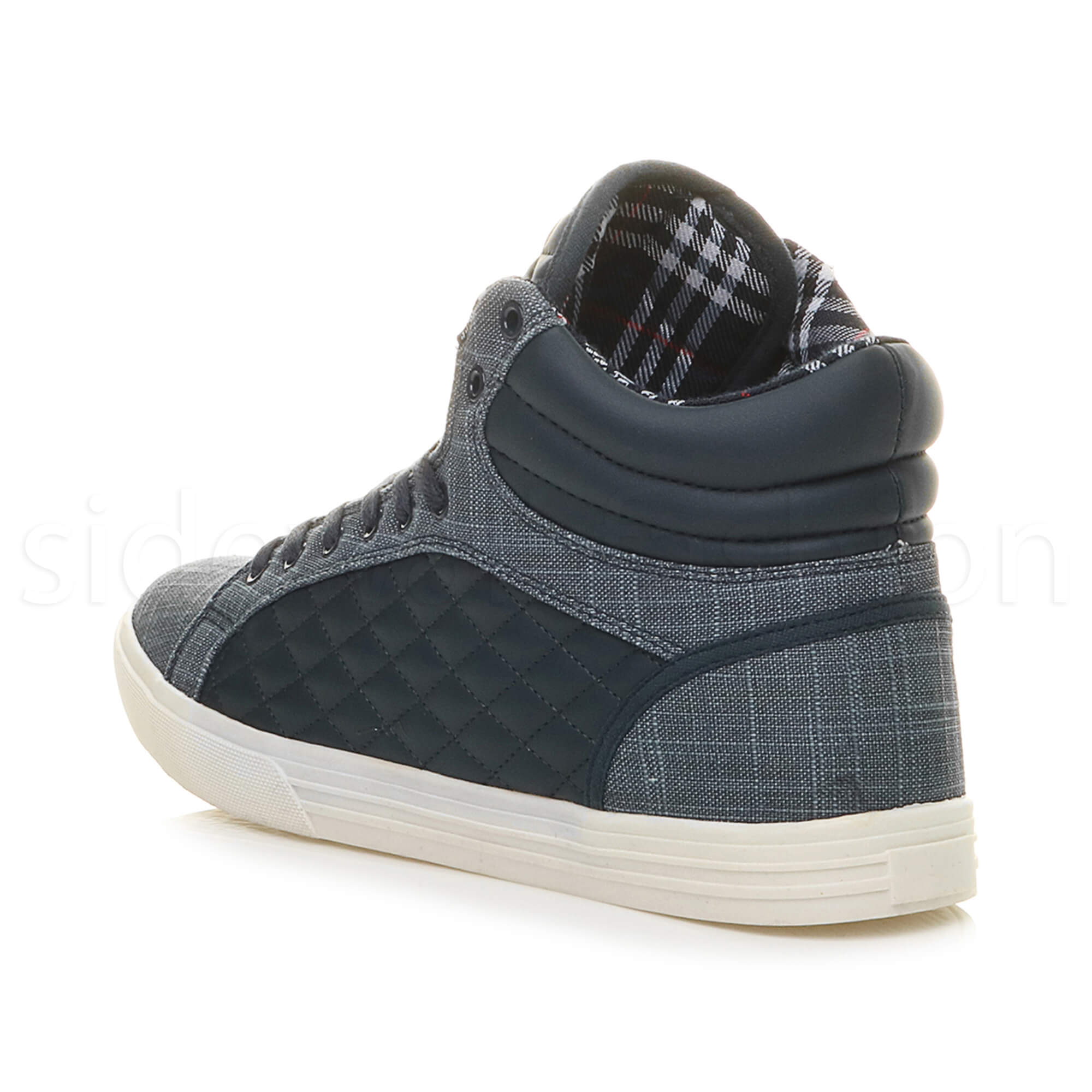Mens-flat-lace-up-quilted-casual-hi-high-top-ankle-boots-trainers-sneakers-size thumbnail 26