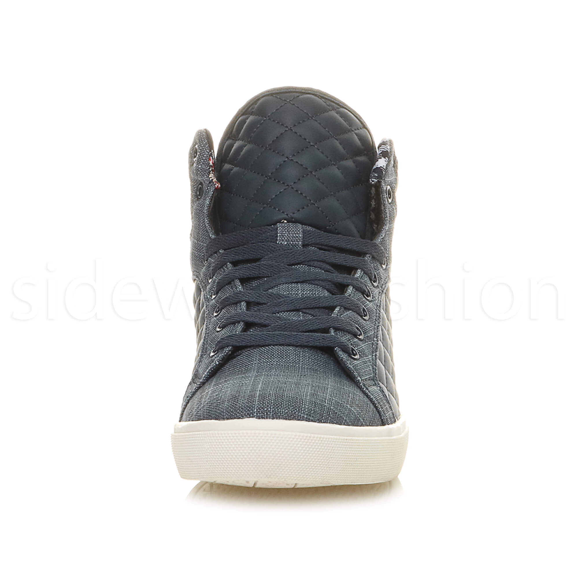 Mens-flat-lace-up-quilted-casual-hi-high-top-ankle-boots-trainers-sneakers-size thumbnail 28