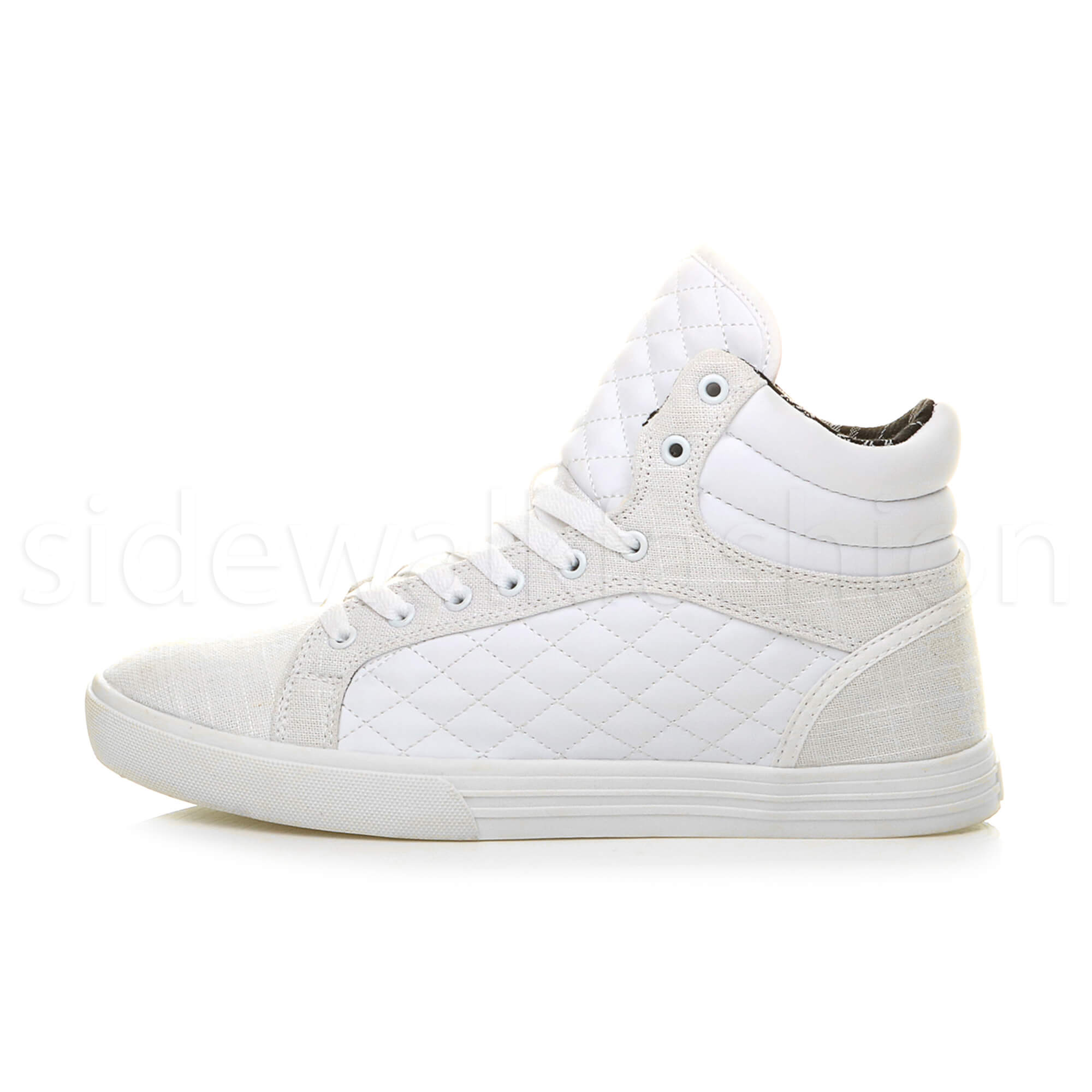 Mens-flat-lace-up-quilted-casual-hi-high-top-ankle-boots-trainers-sneakers-size thumbnail 31