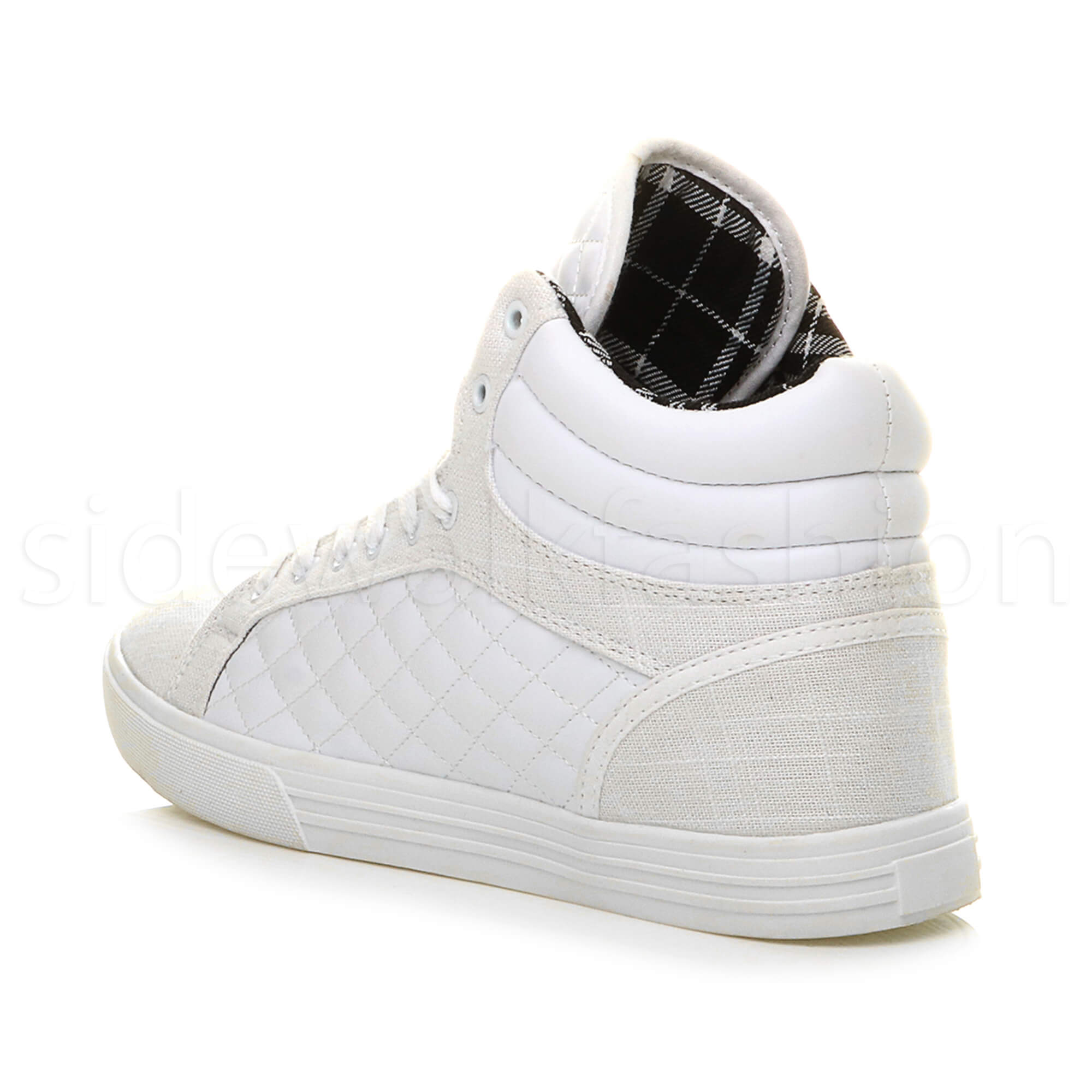 Mens-flat-lace-up-quilted-casual-hi-high-top-ankle-boots-trainers-sneakers-size thumbnail 33