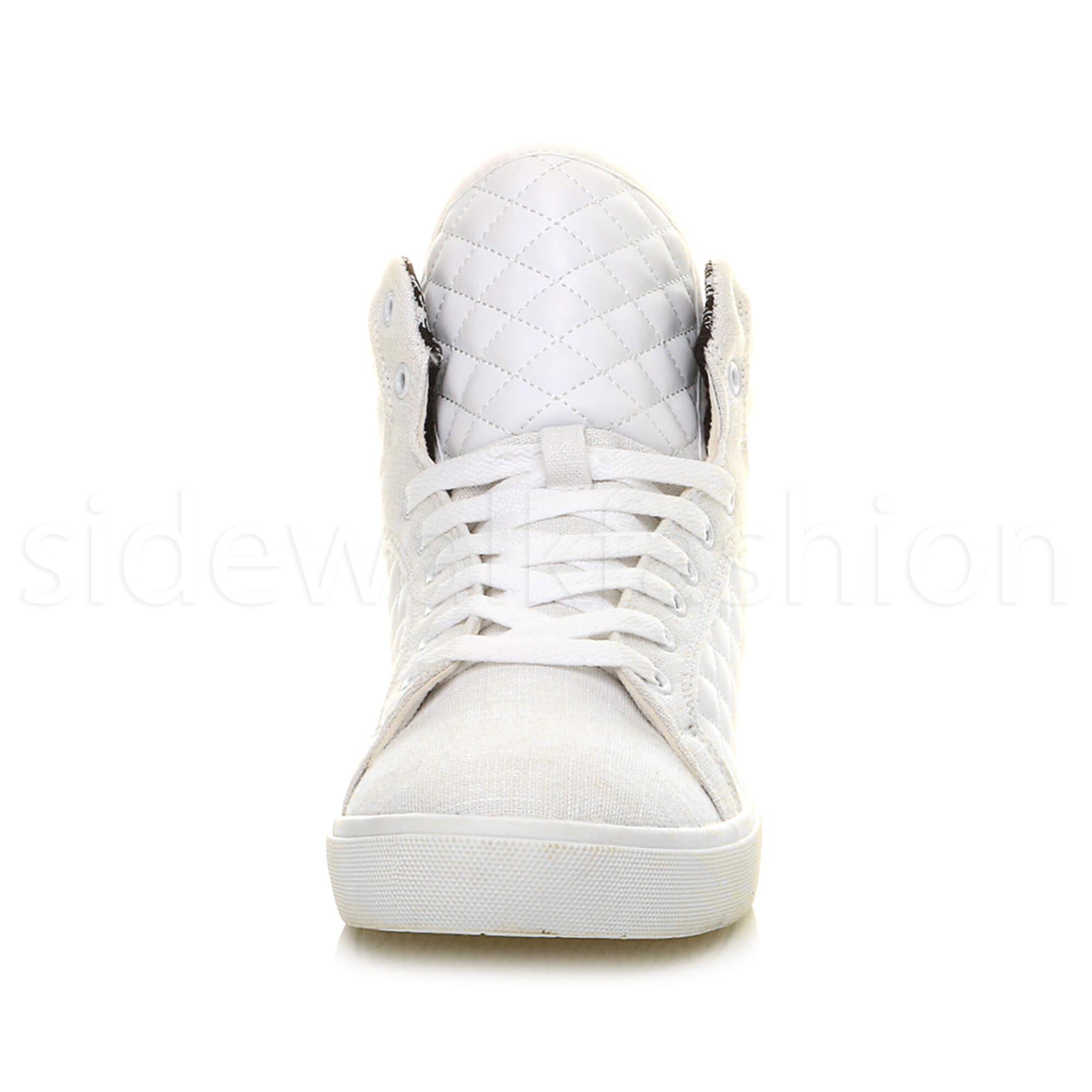 Mens-flat-lace-up-quilted-casual-hi-high-top-ankle-boots-trainers-sneakers-size thumbnail 35