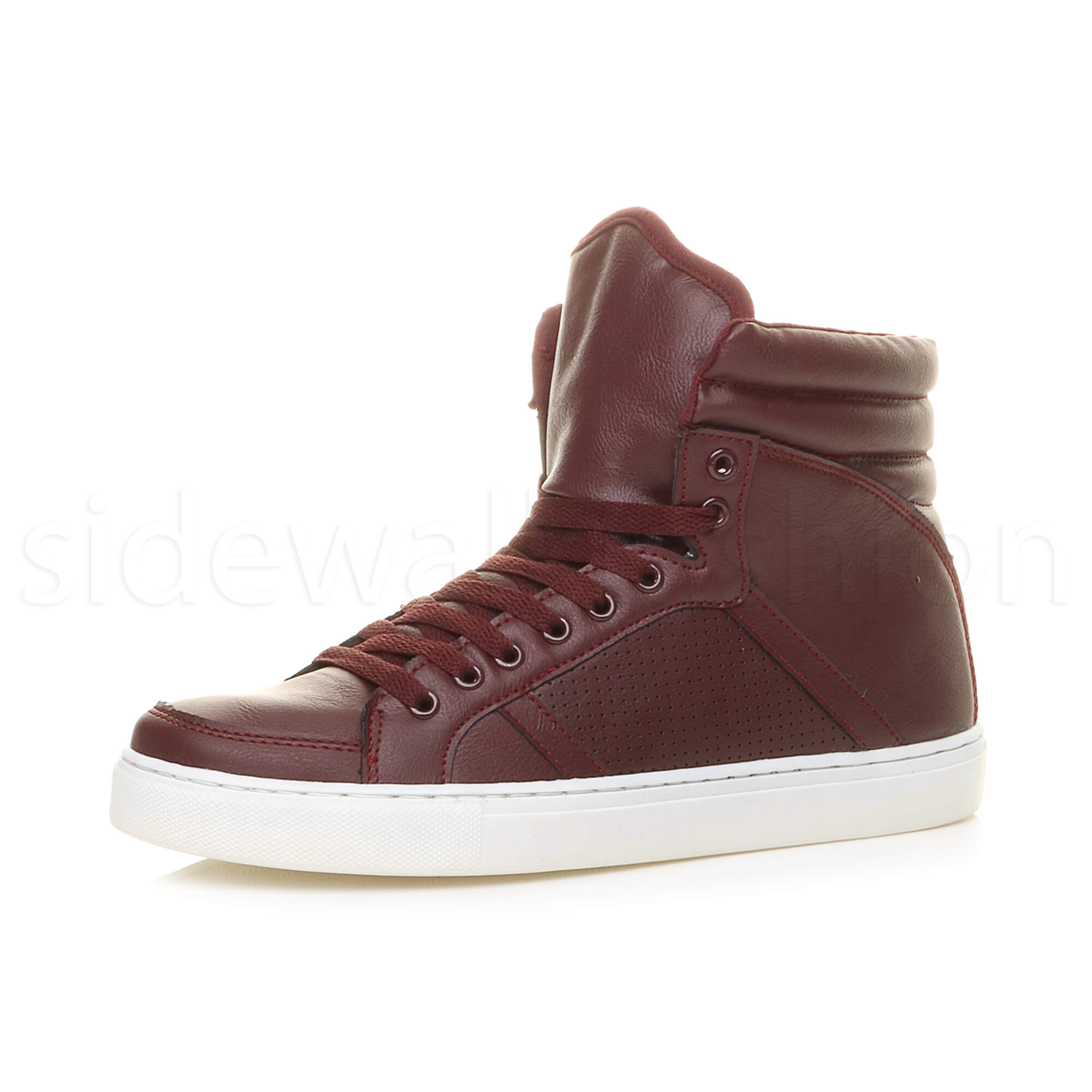 Mens boys hi high top flat casual lace up trainers ankle ...