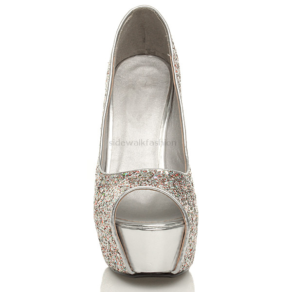 Womens-ladies-platform-pumps-peep-toe-high-heel-glitter-court-shoes-sandals-size