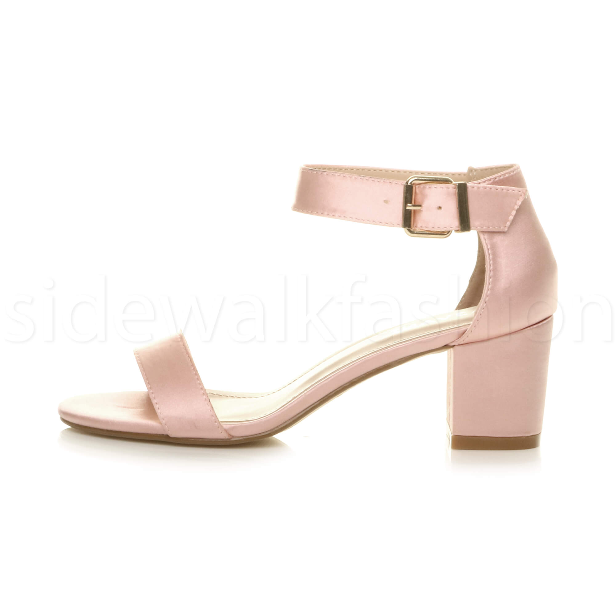 Womens-ladies-low-mid-heel-buckle-ankle-strap-peep-toe-party-strappy-sandal-size thumbnail 3